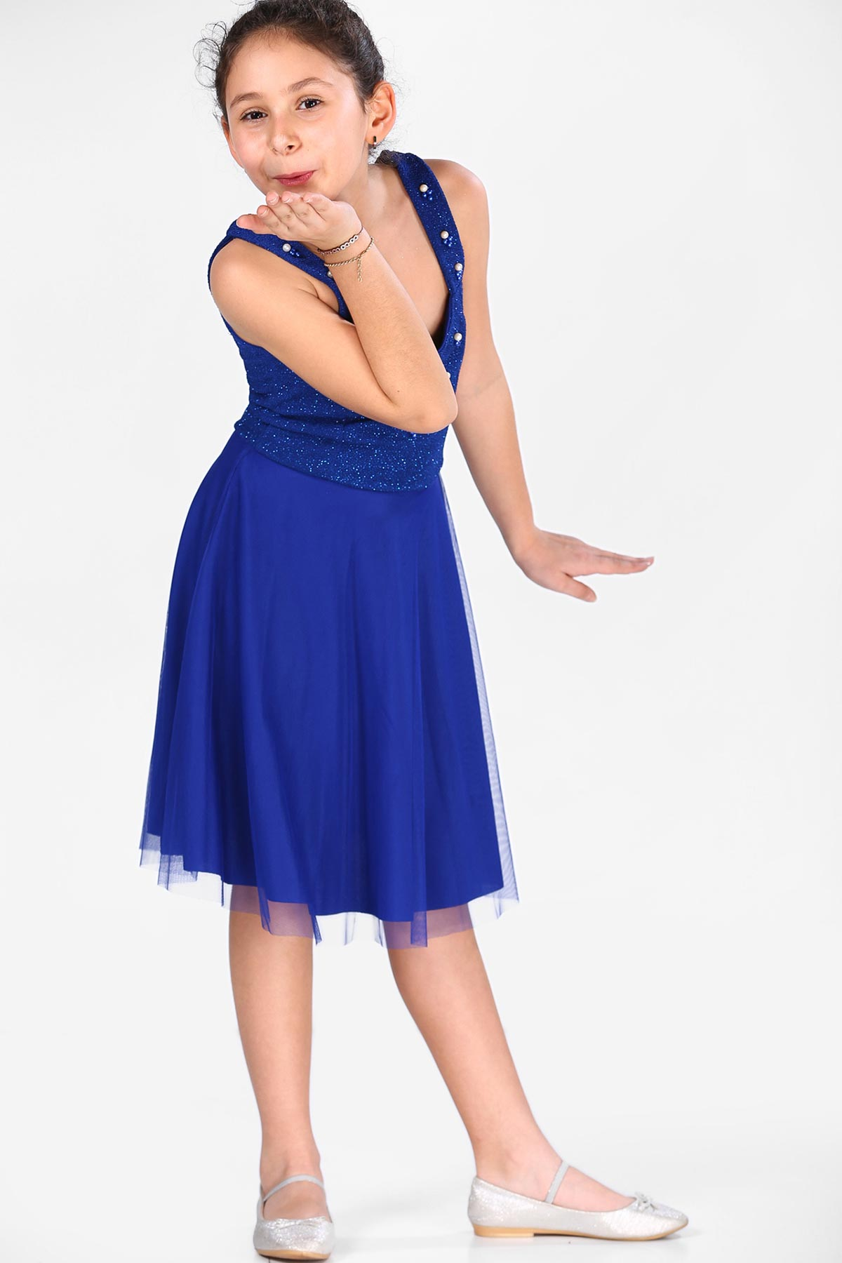 Girl's Saxe Evening Gown