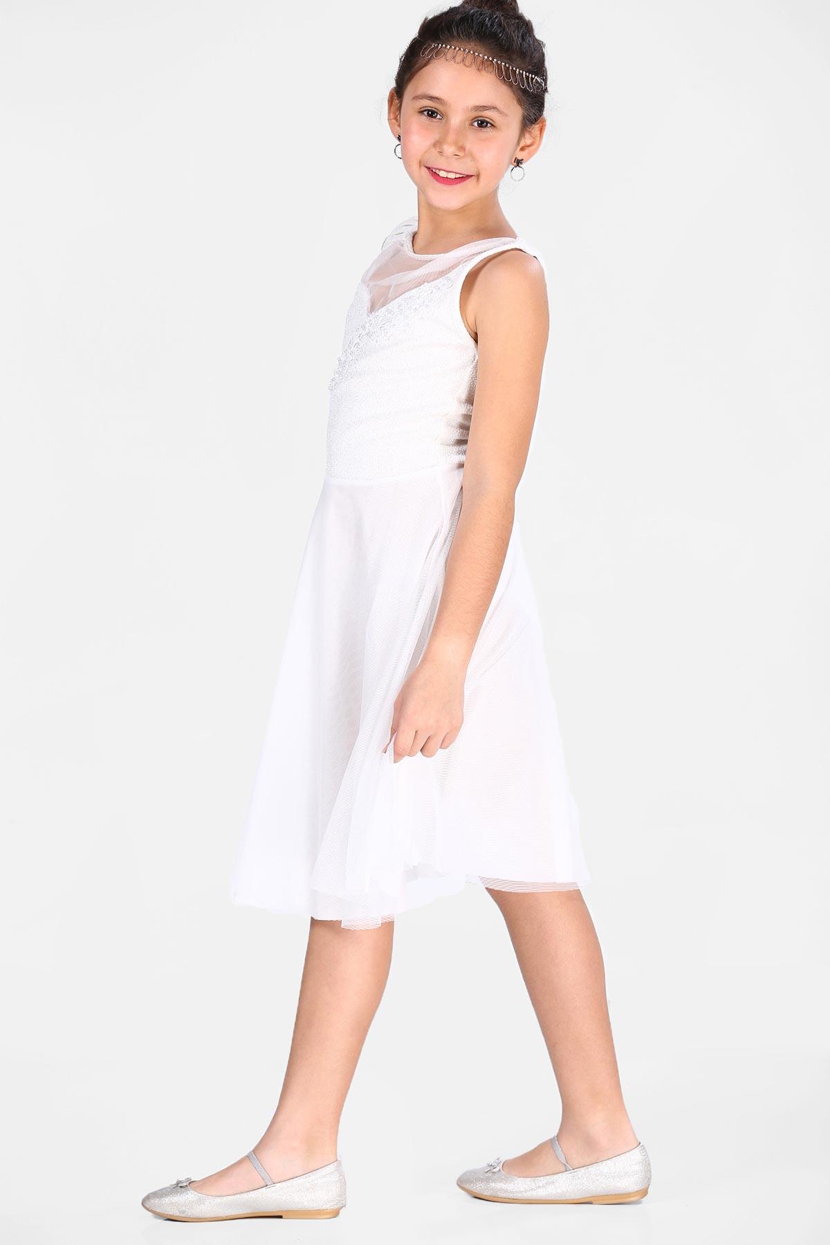 Girl's Ecru Evening Dress