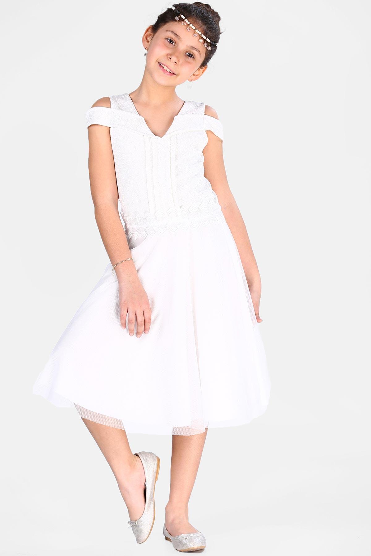 Kid's Tulle Detail Ecru Dress