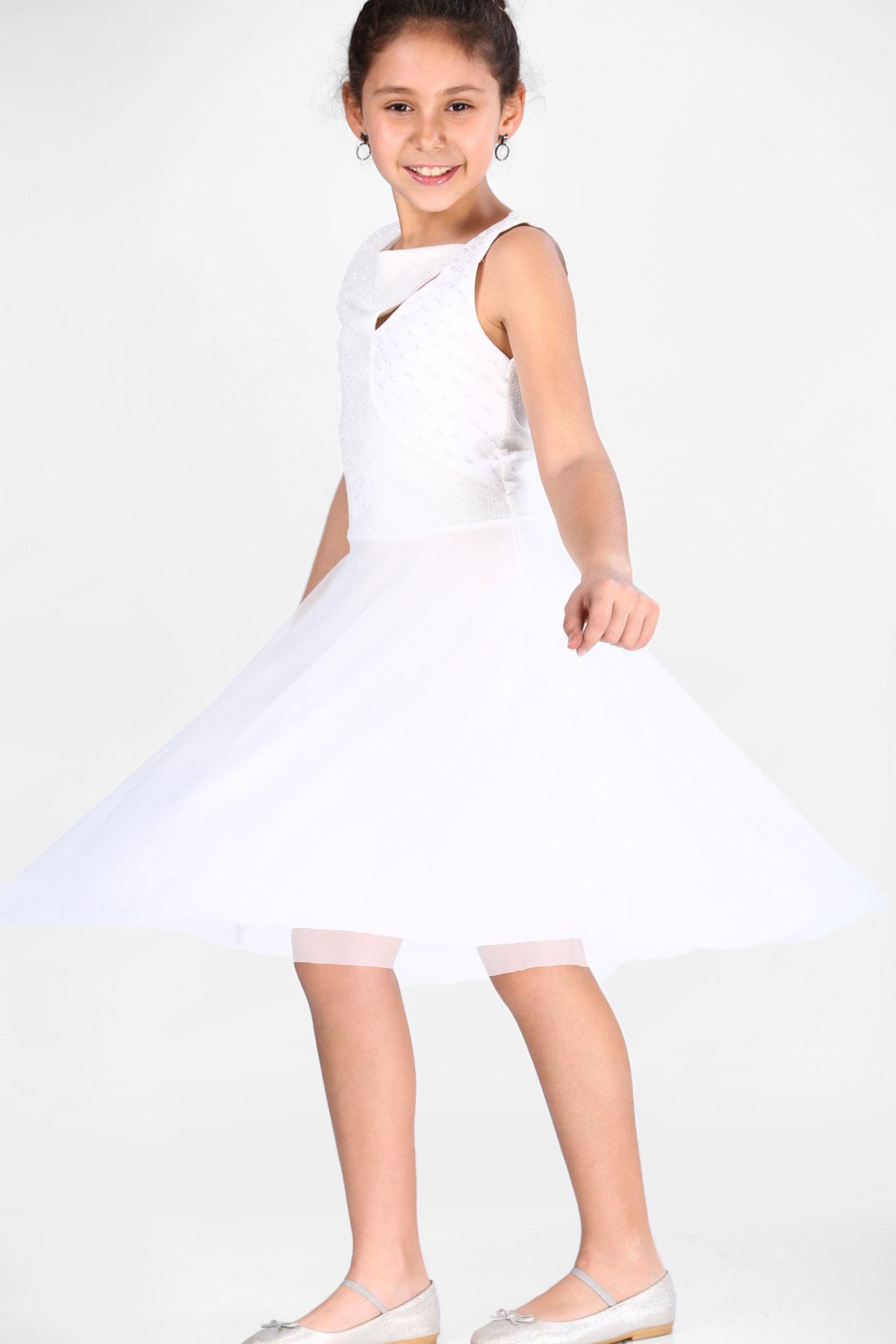 Girl's Pearled Ecru Evening Dress