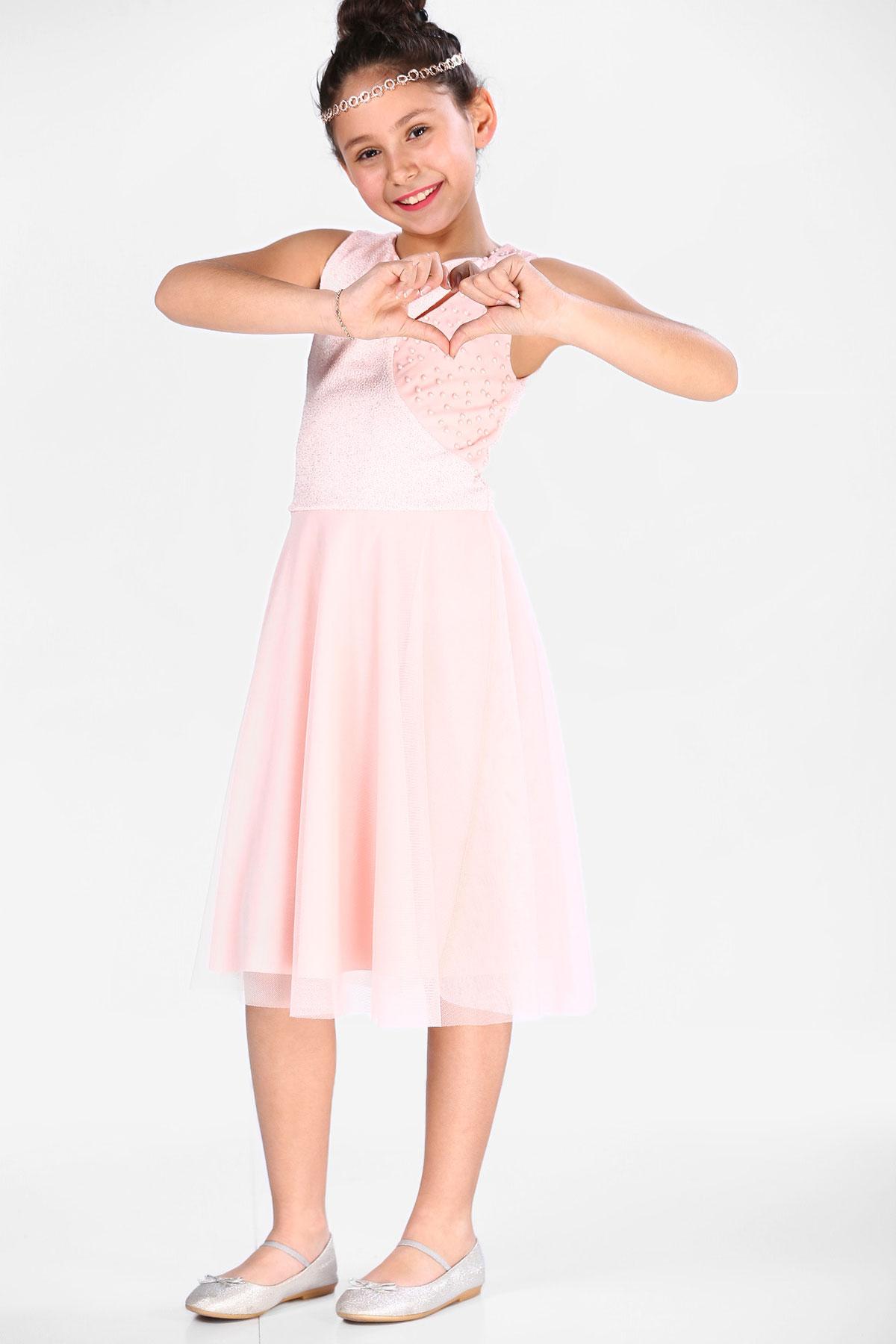 Girl's Pearled Powder Rose Evening Dress