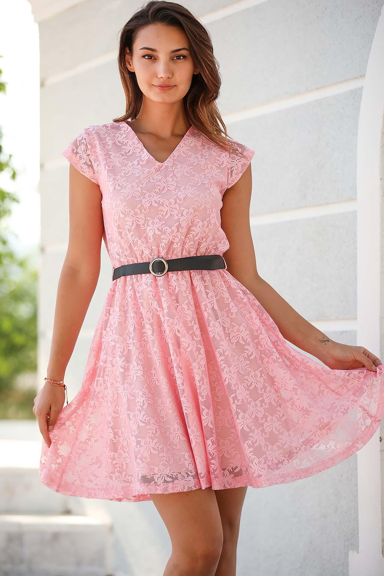 Women's Short Pink Lace Dress