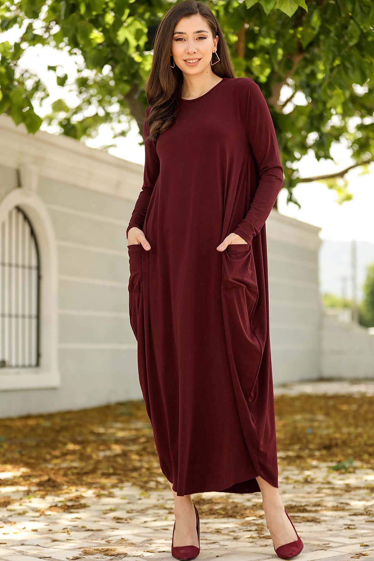 فستان طويل عنابي بجيوب نسائي