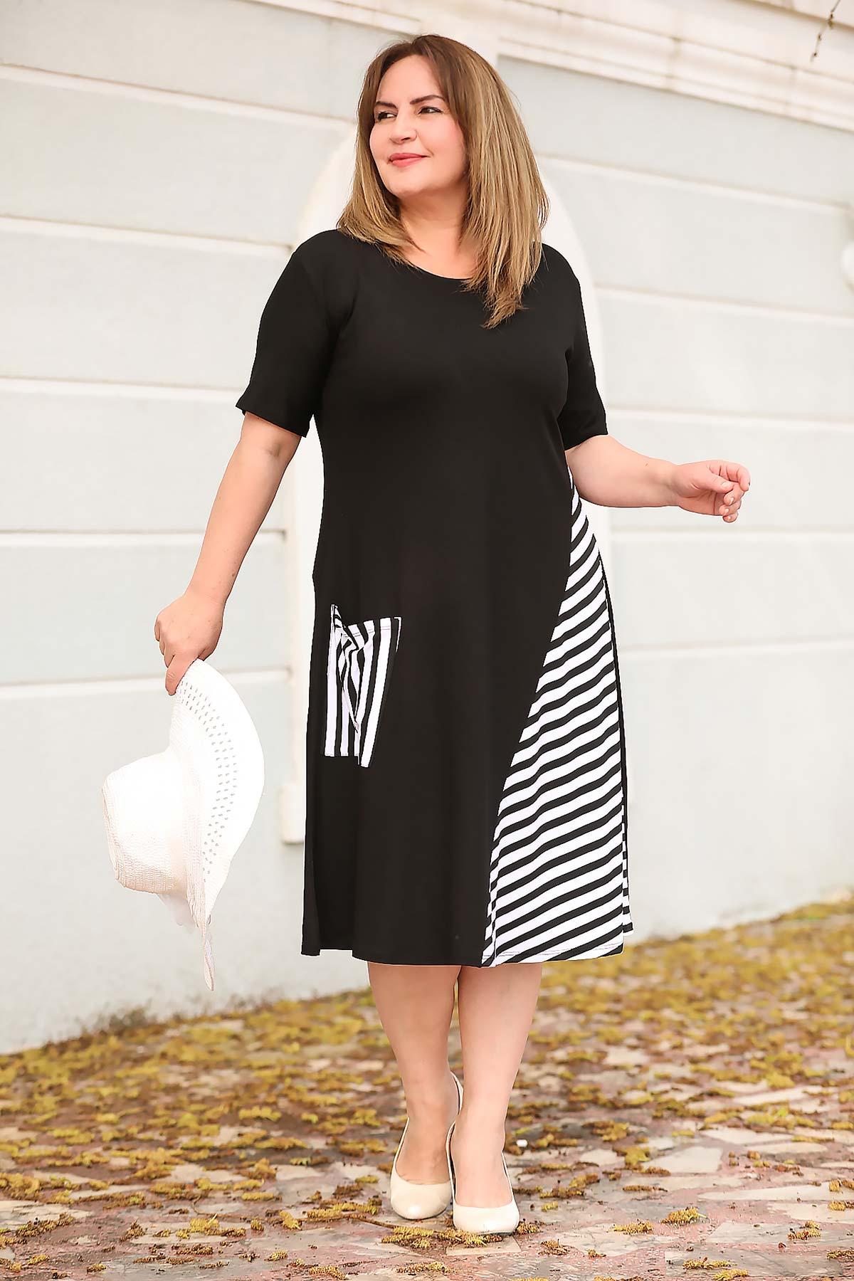 Oversize Midi Patterned Black Dress