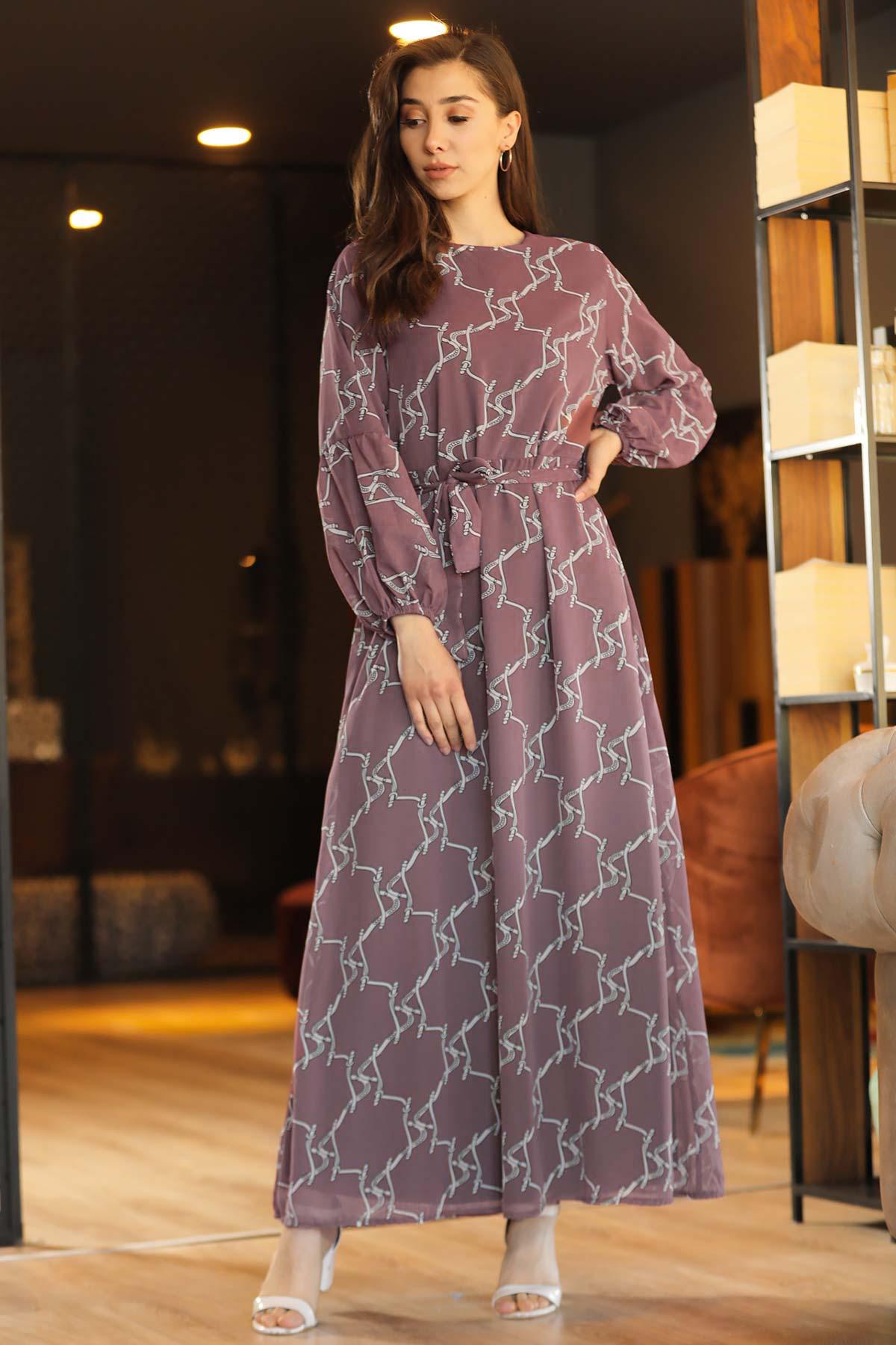 Women's Patterned Dusty Rose Chiffon Long Dress