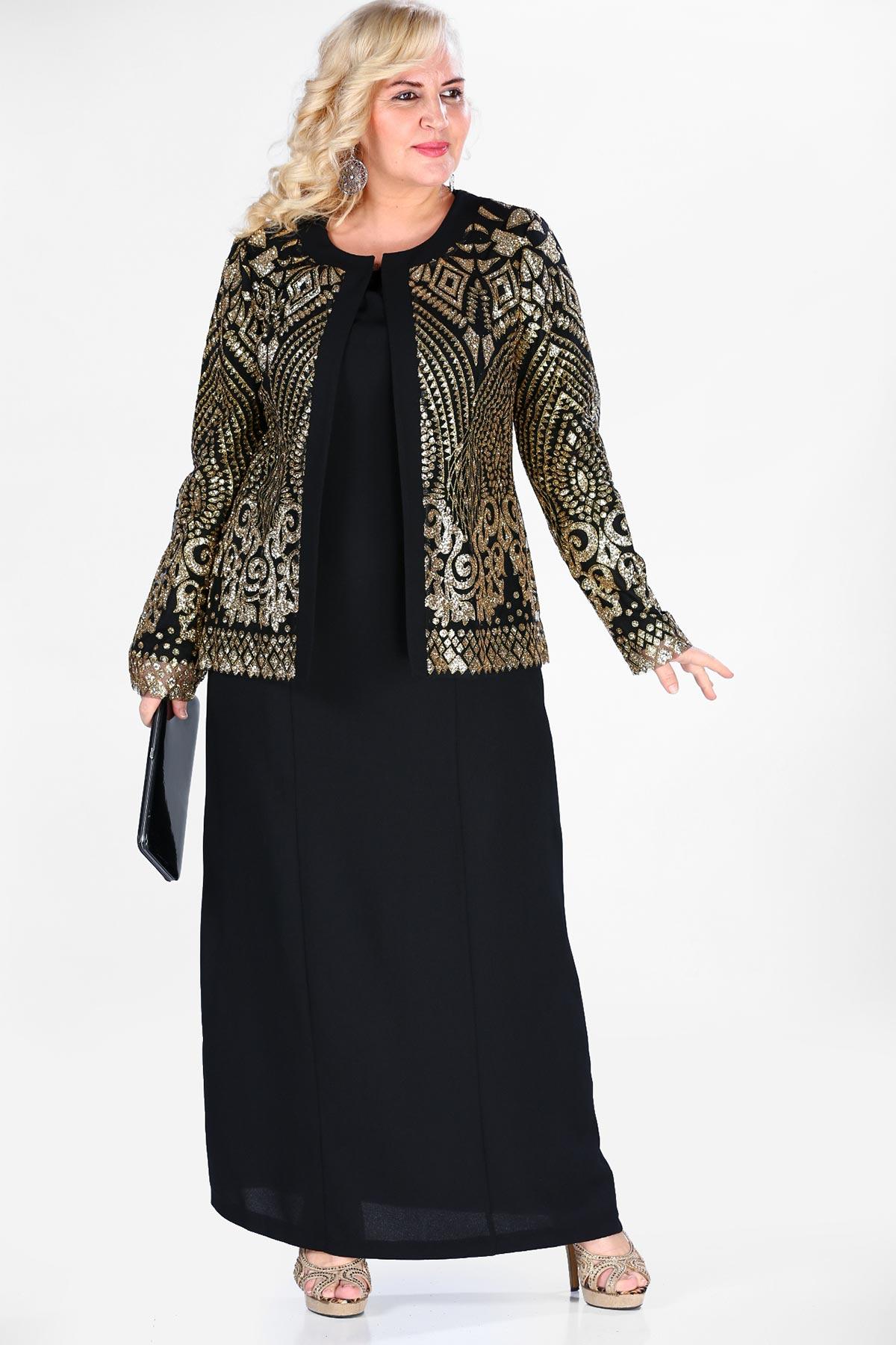 Oversize Silvery Jacket & Evening Dress Set