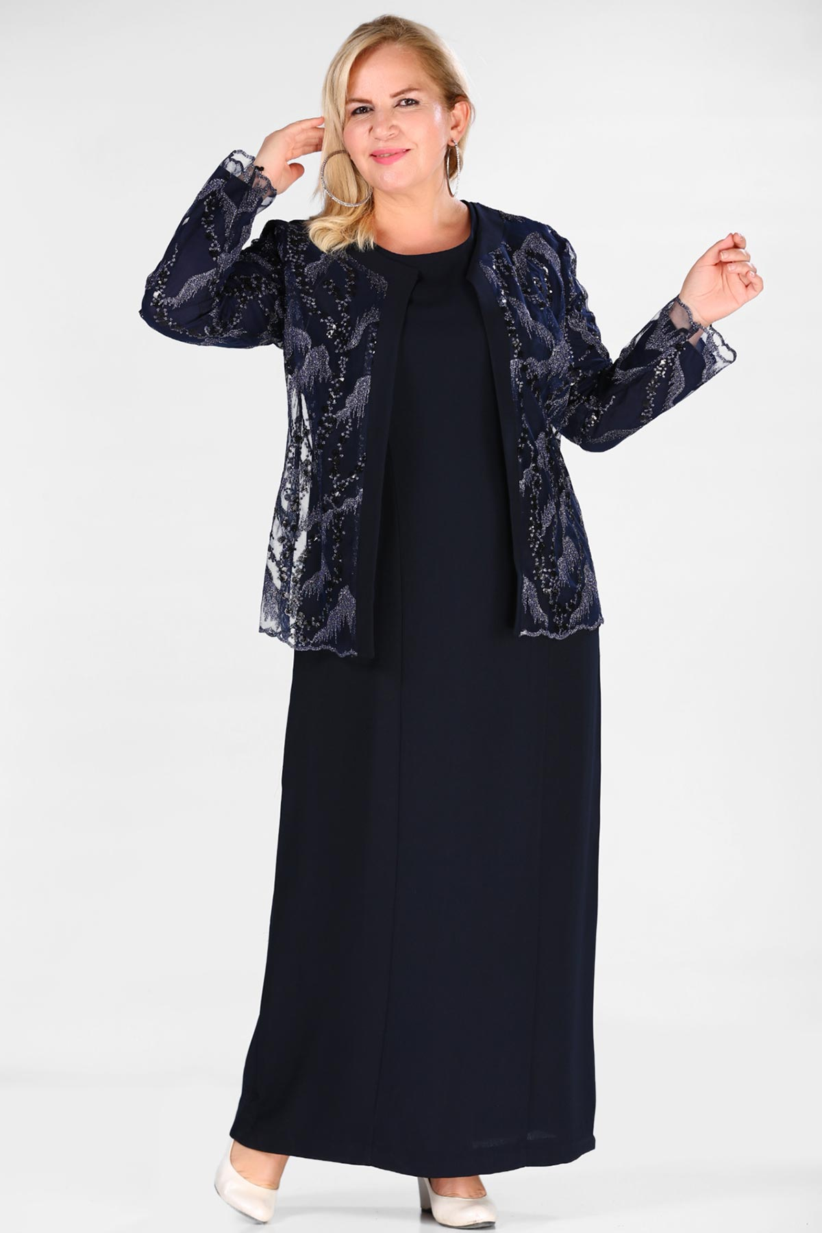 Oversize Navy Blue Dress Jacket Set