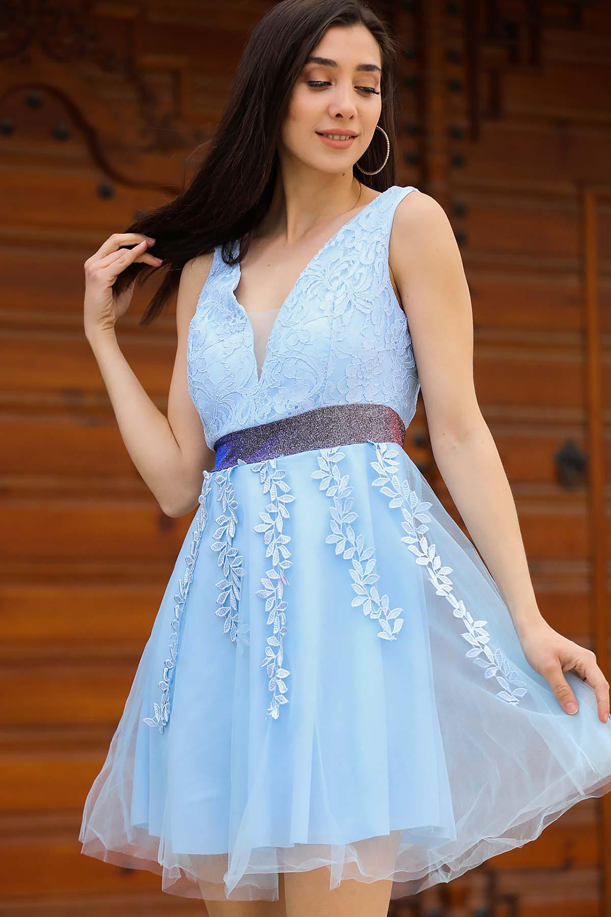 Women's Lace Detail Baby Blue Short Evening Dress