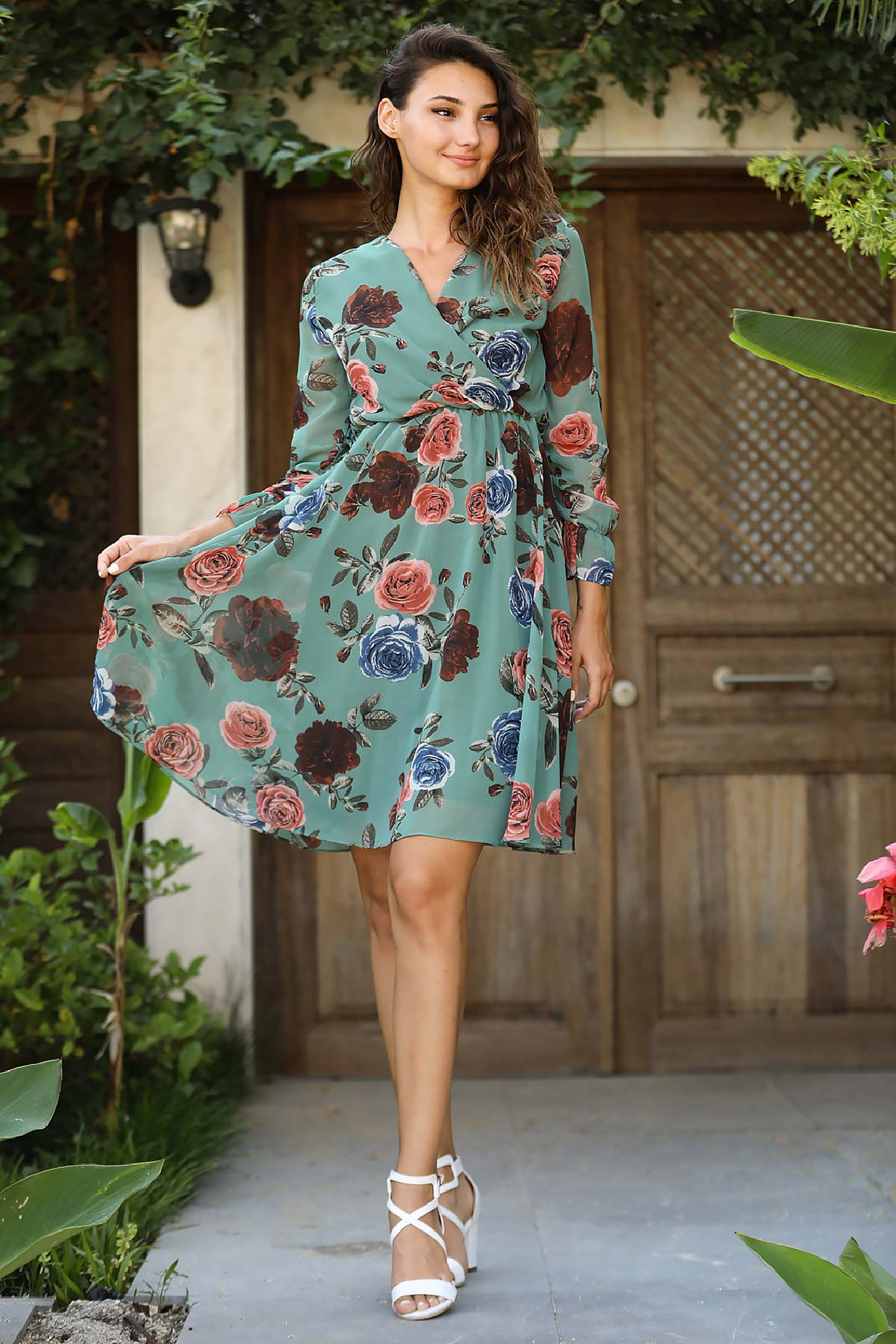 Women's Wrap Patterned Green Chiffon Short Dress