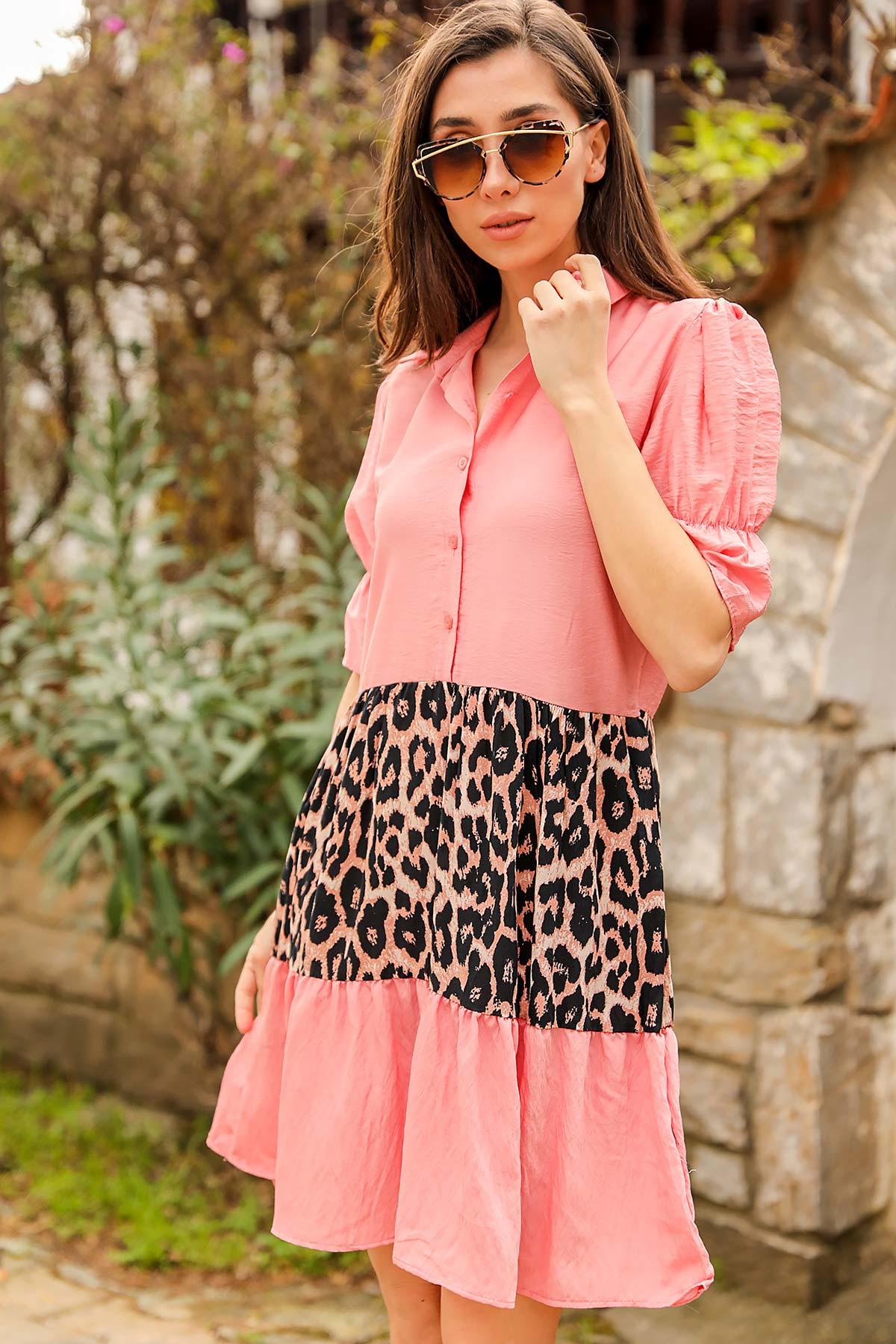 فستان قصير وردي مزخرف ستايل فهد بأكمام بالون نسائي