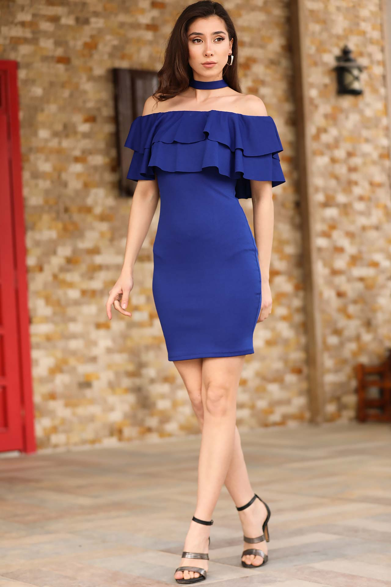 Boat Neck Saxe Dress