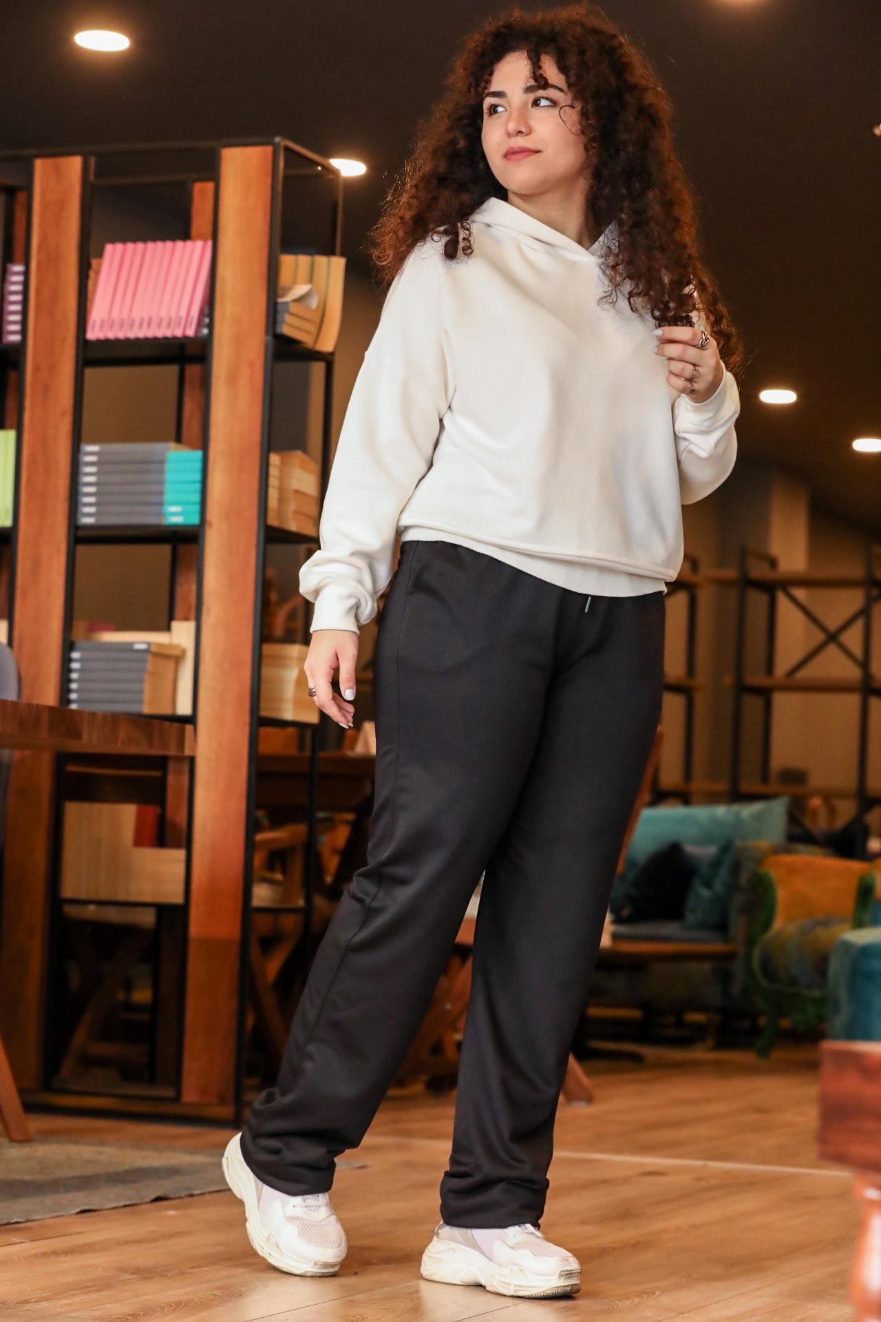 Women's Oversize Black Sport Pants