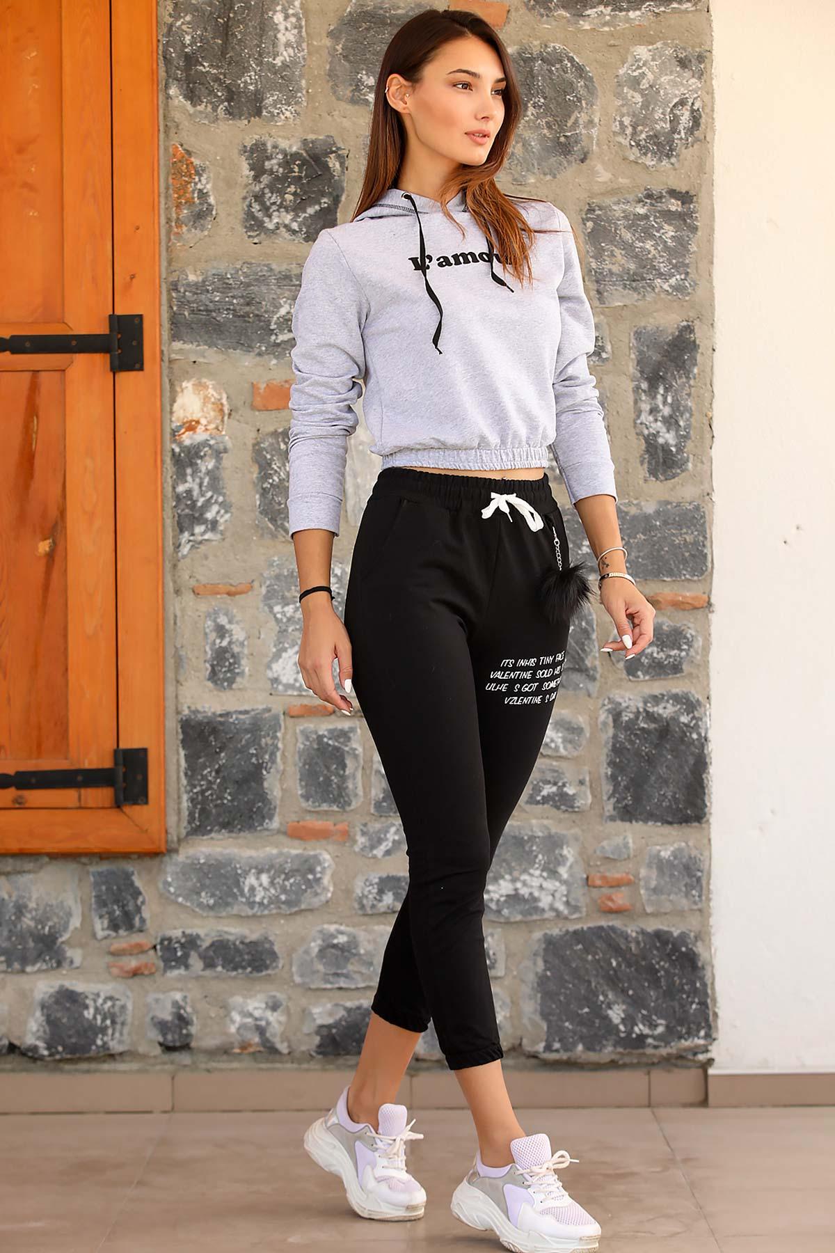 Women's Elastic Legs Black Sweatpants
