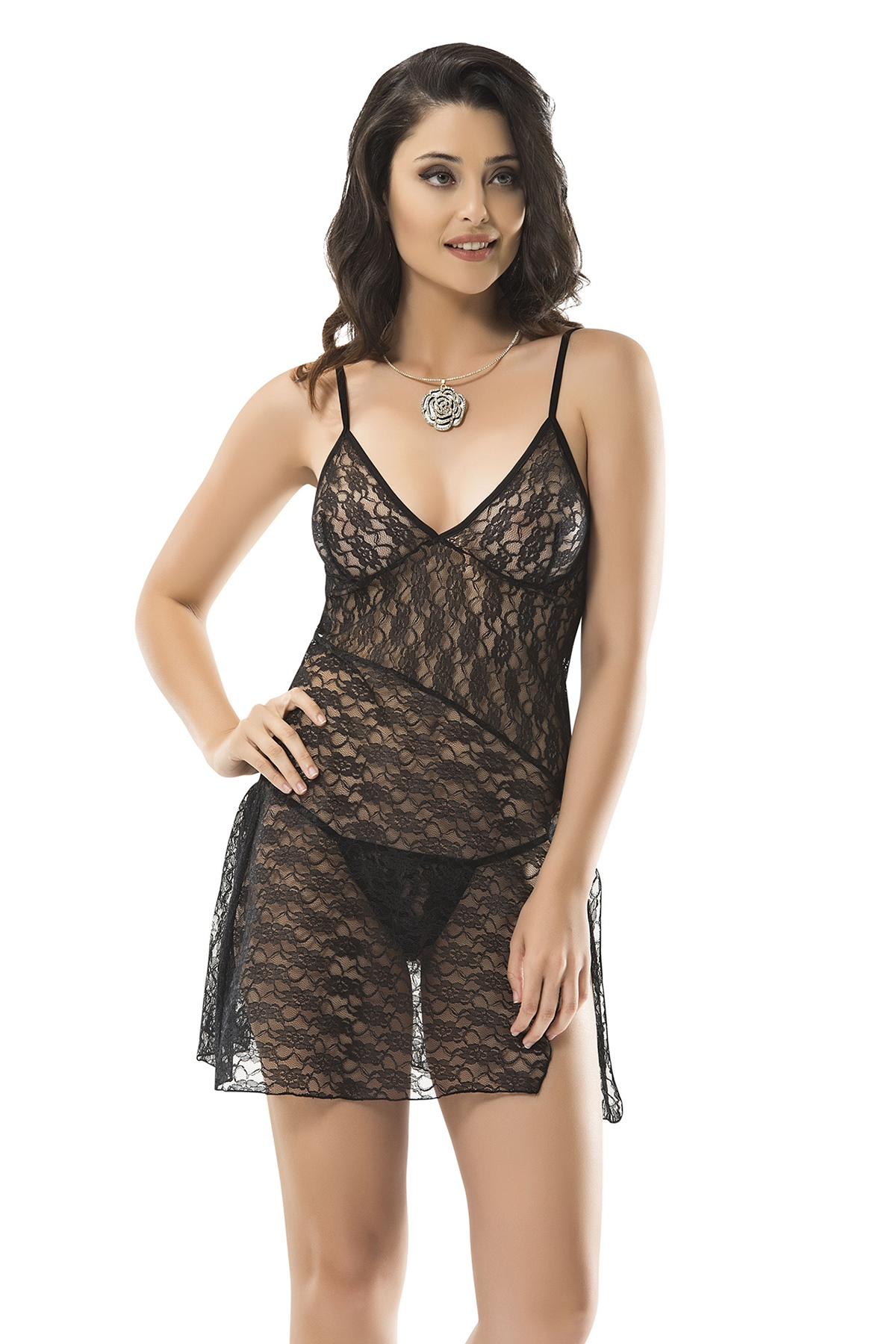 Strappy Lace Detailed Black Fantasy Set
