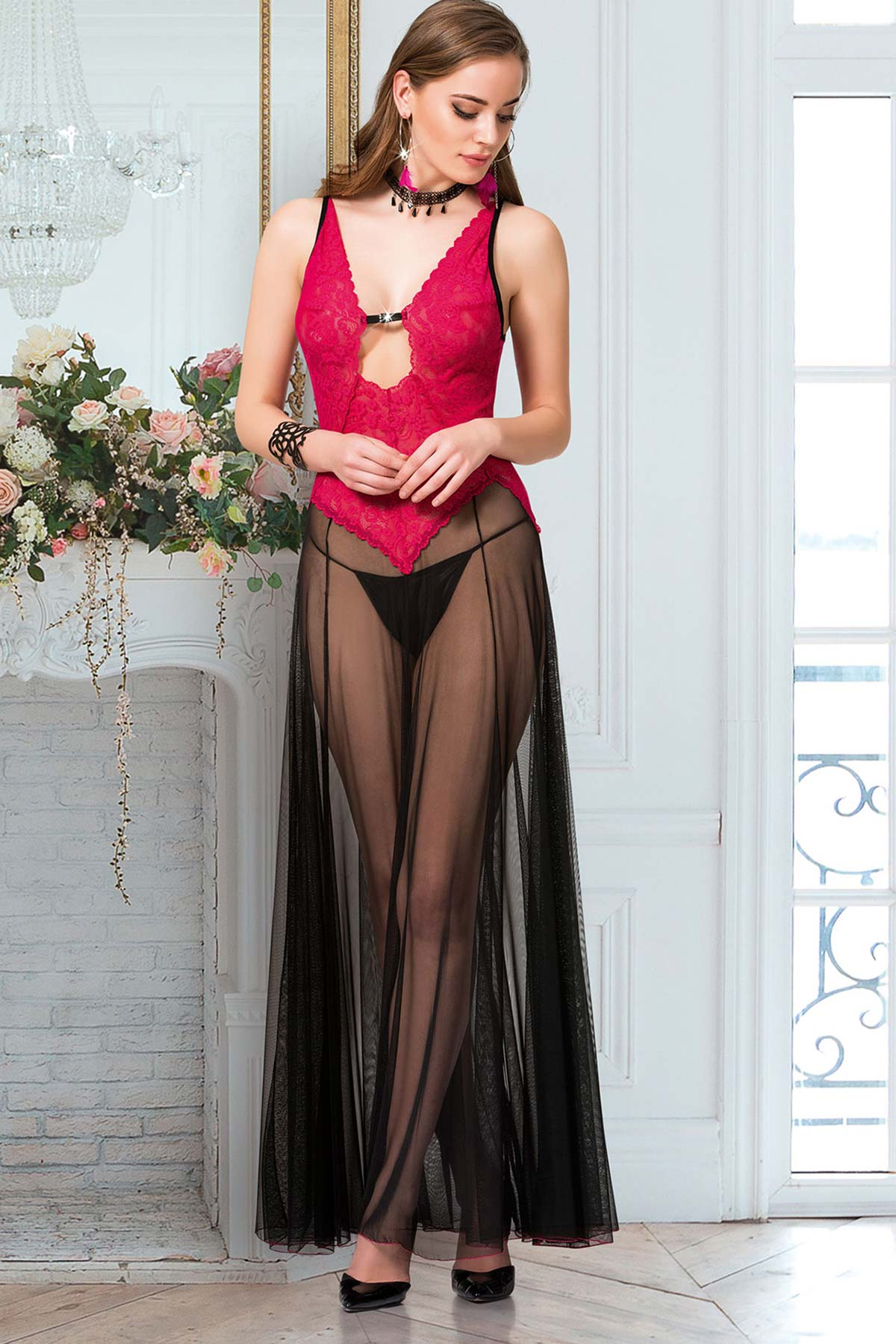 Women's Tulle Red Nightgown