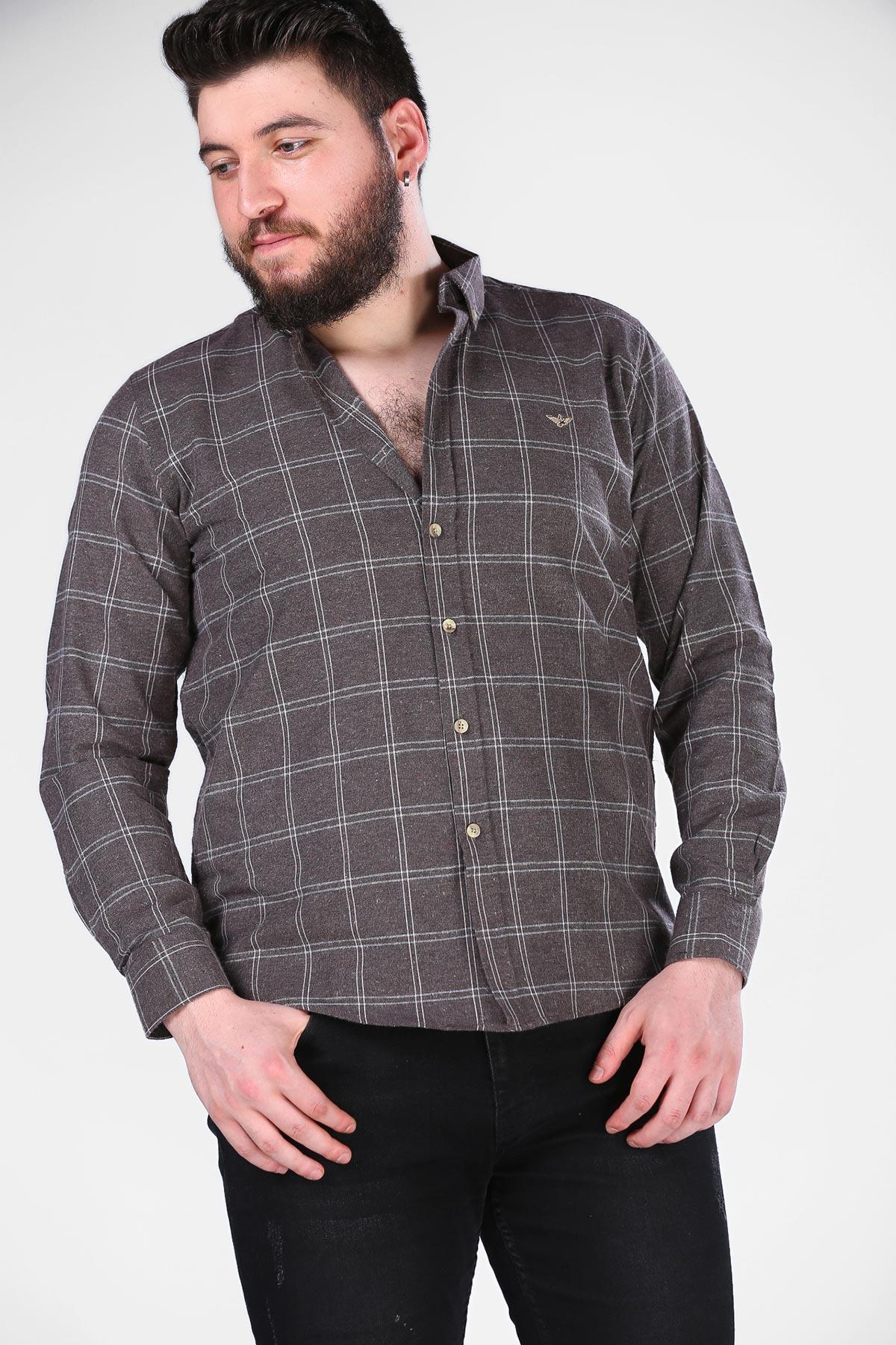 قميص بني مزخرف رجالي