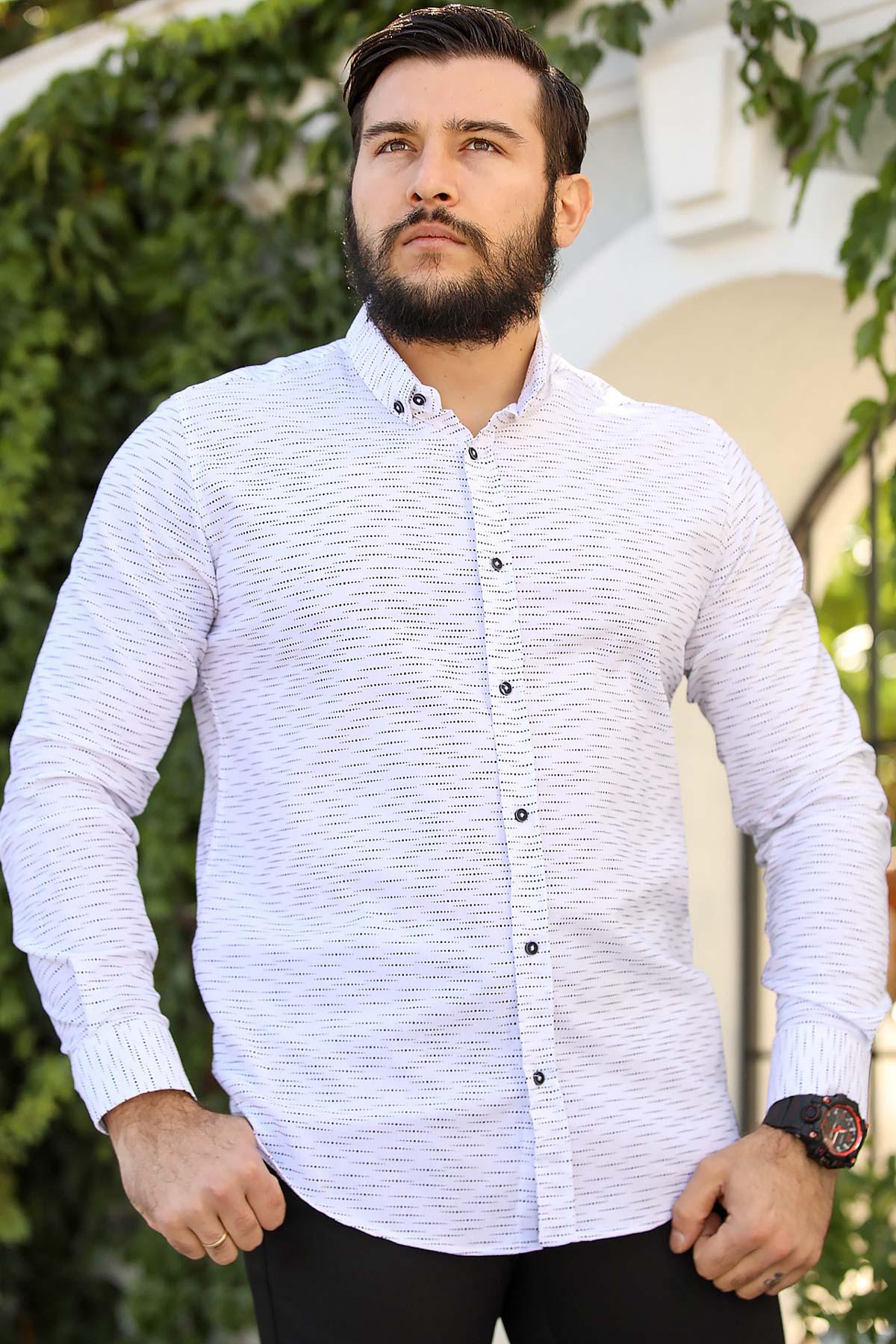 Men's Oversize Patterned Ecru Shirt