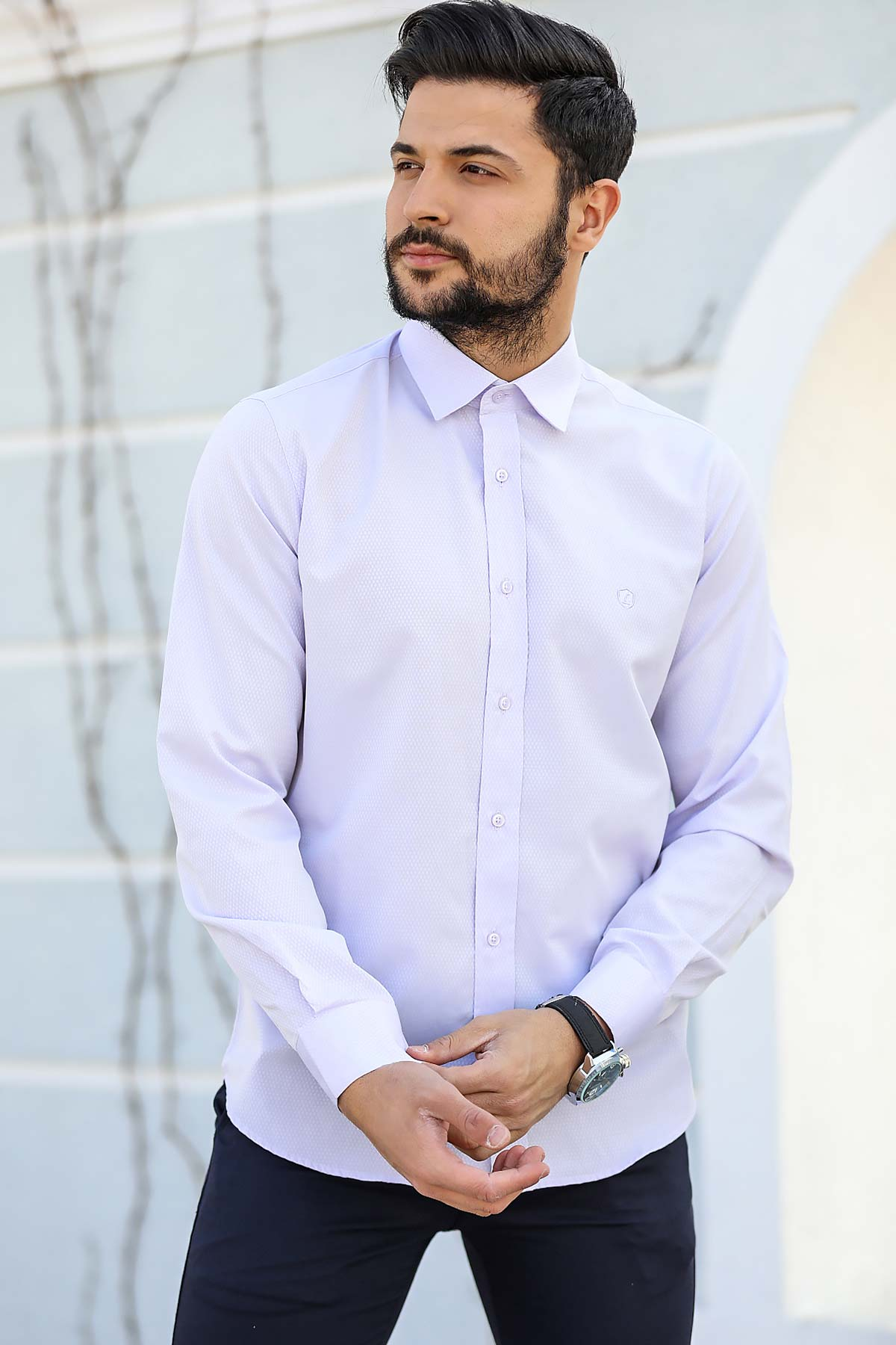 Men's Patterned Lilac Shirt