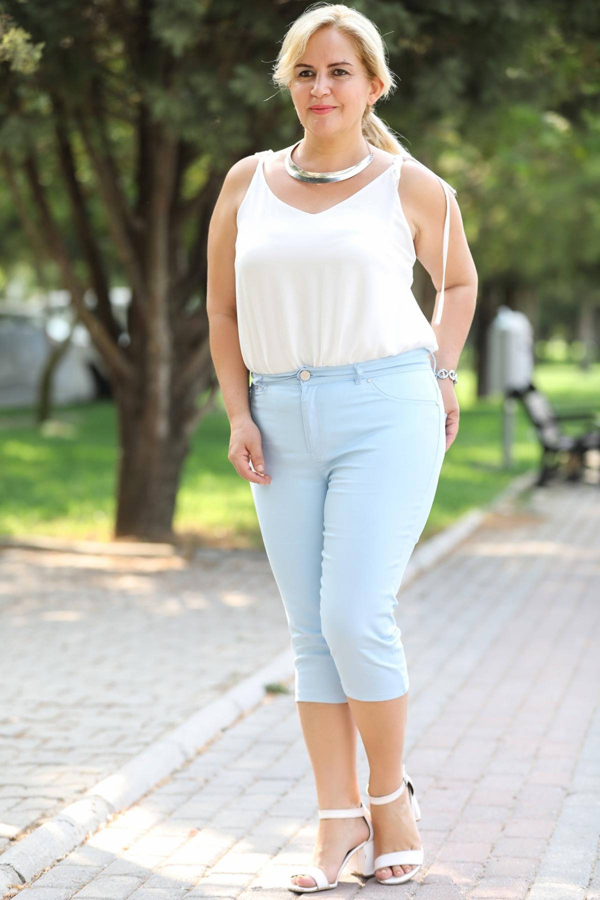 Oversize Blue Capri Pants