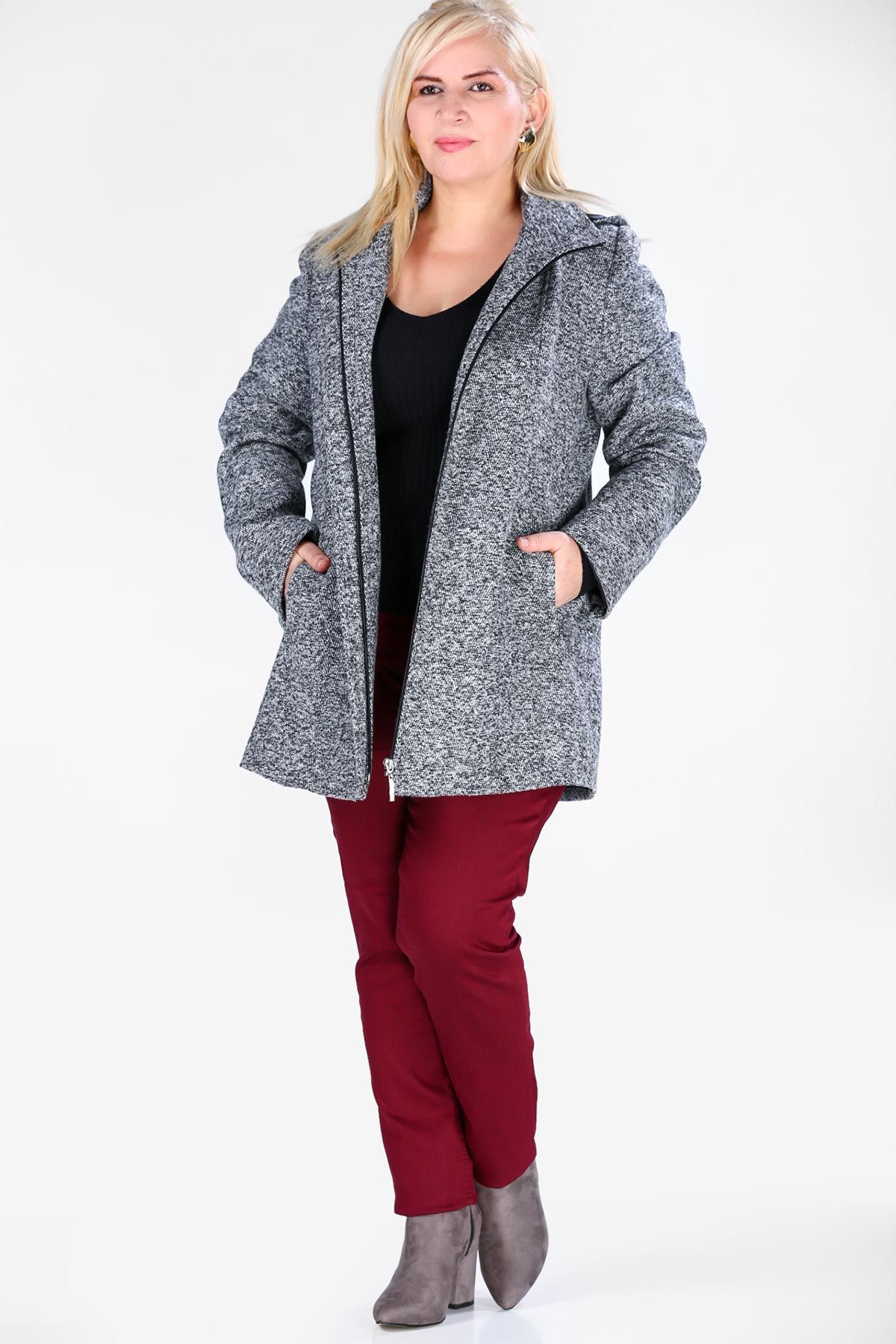 Women's Oversize Hooded Grizzled Grey Cachet Coat