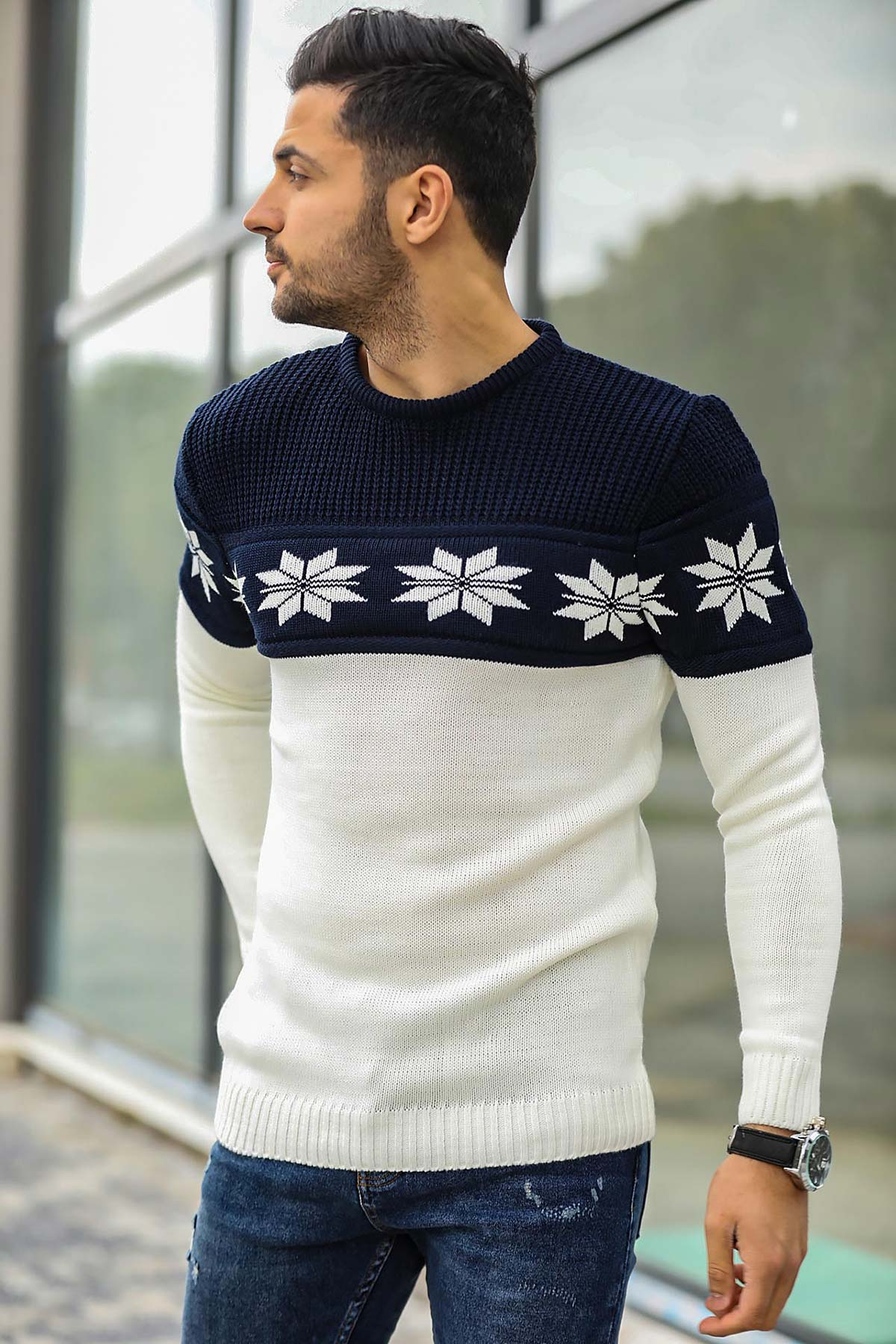 Men's Patterned Red Tricot Pullover