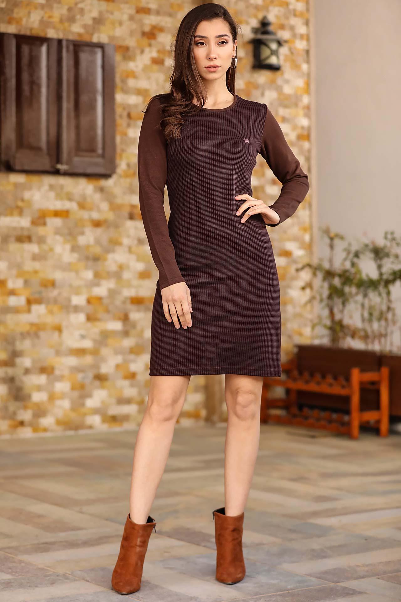 Women's Patterned Tricot Dress