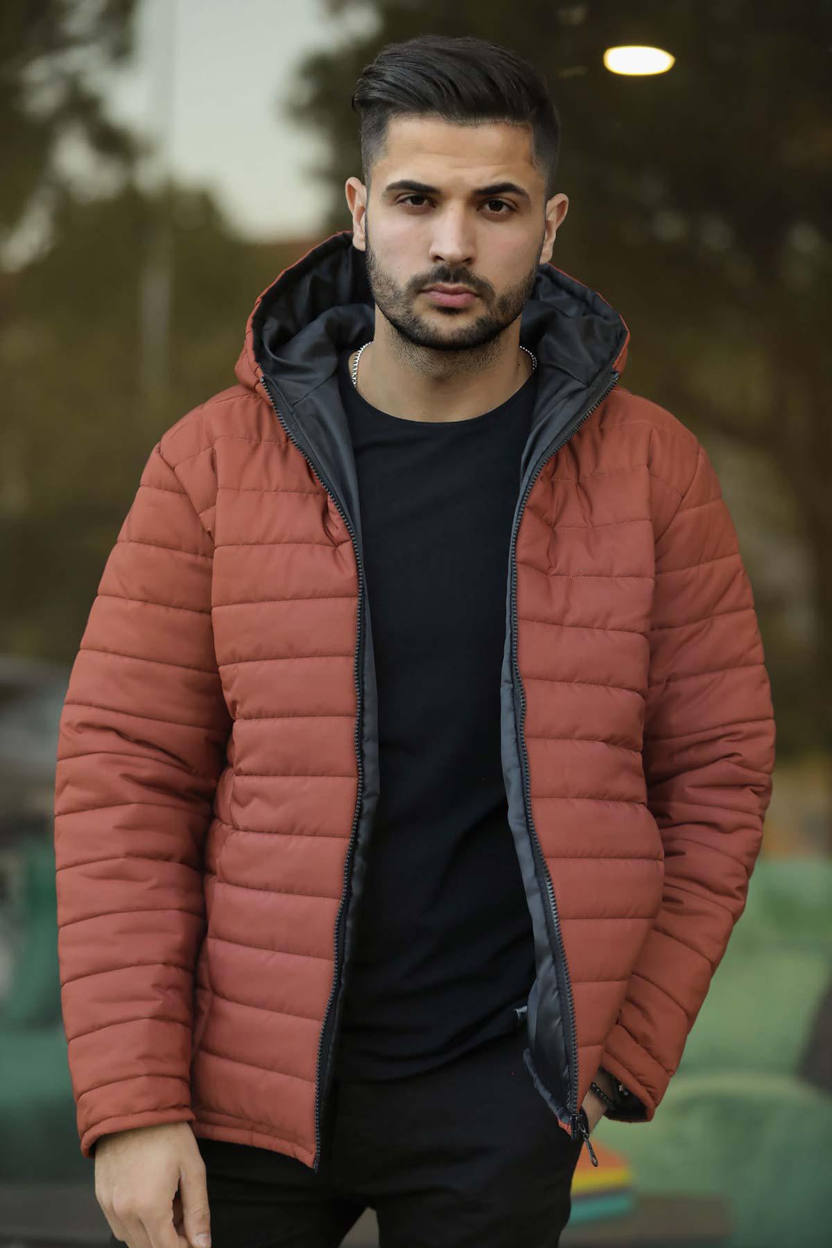 Men's Hooded Tile Red Coat