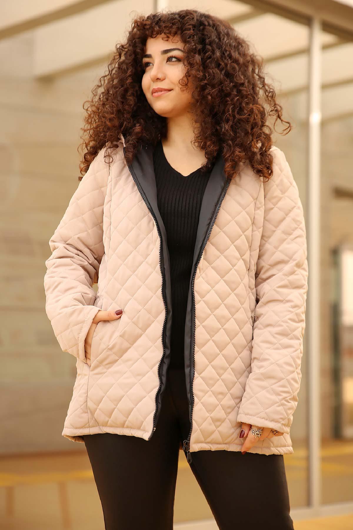 معطف هودي كريمي مقاس كبير نسائي