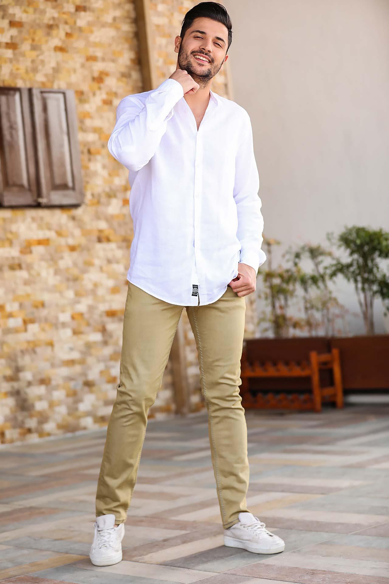 Men's Pocket Beige Jeans