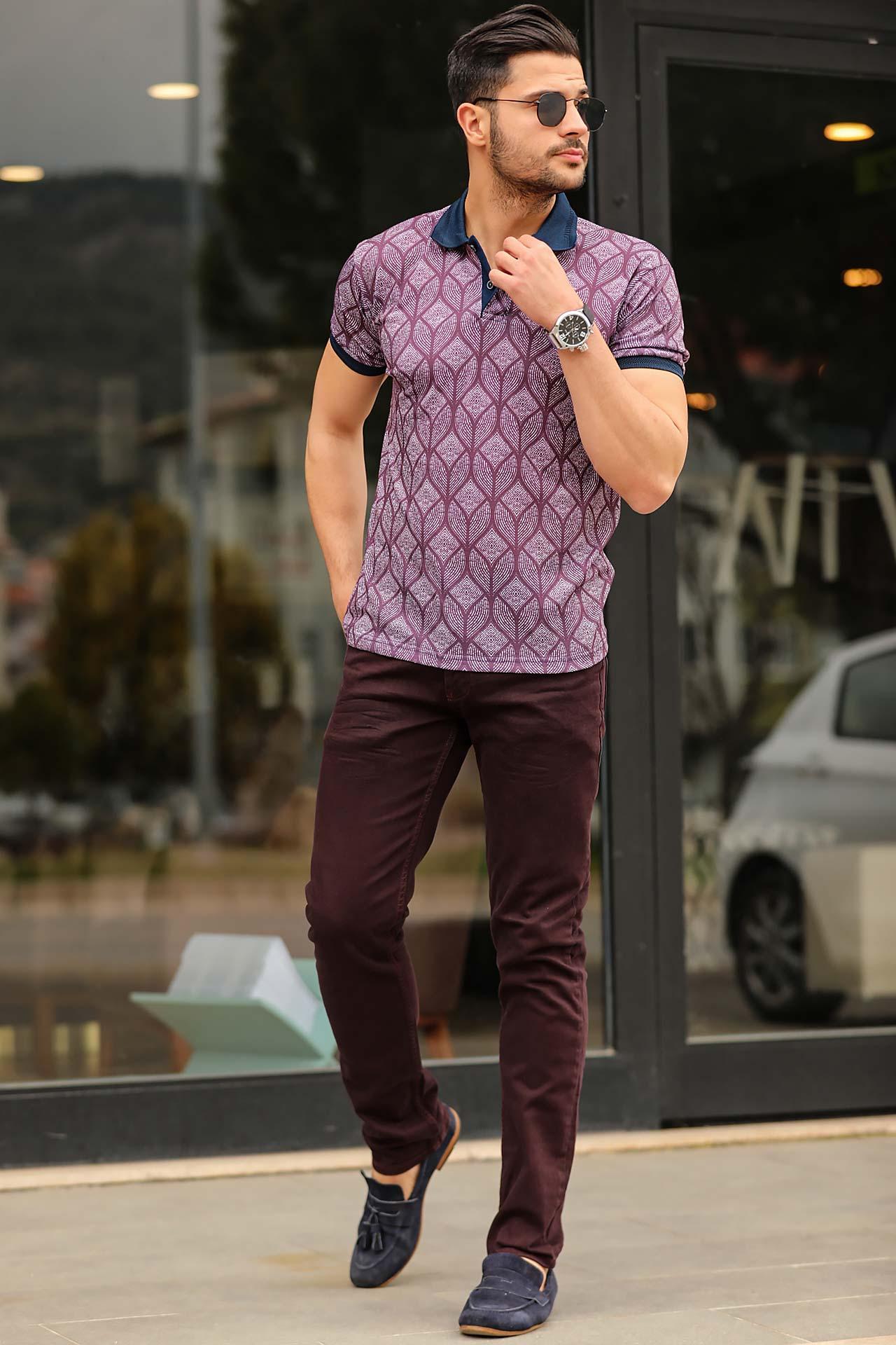 Men's Pocketed Claret Red Jeans