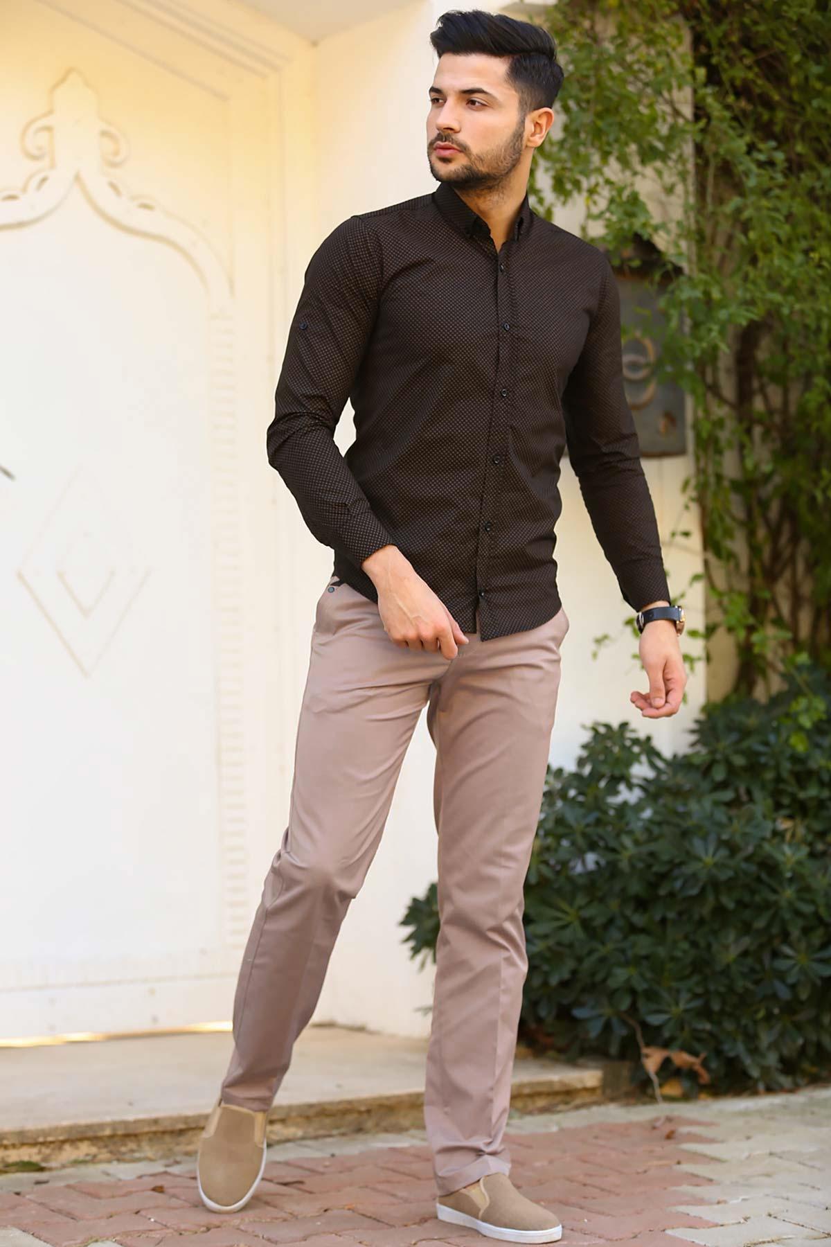 Men's Beige Fabric Pants