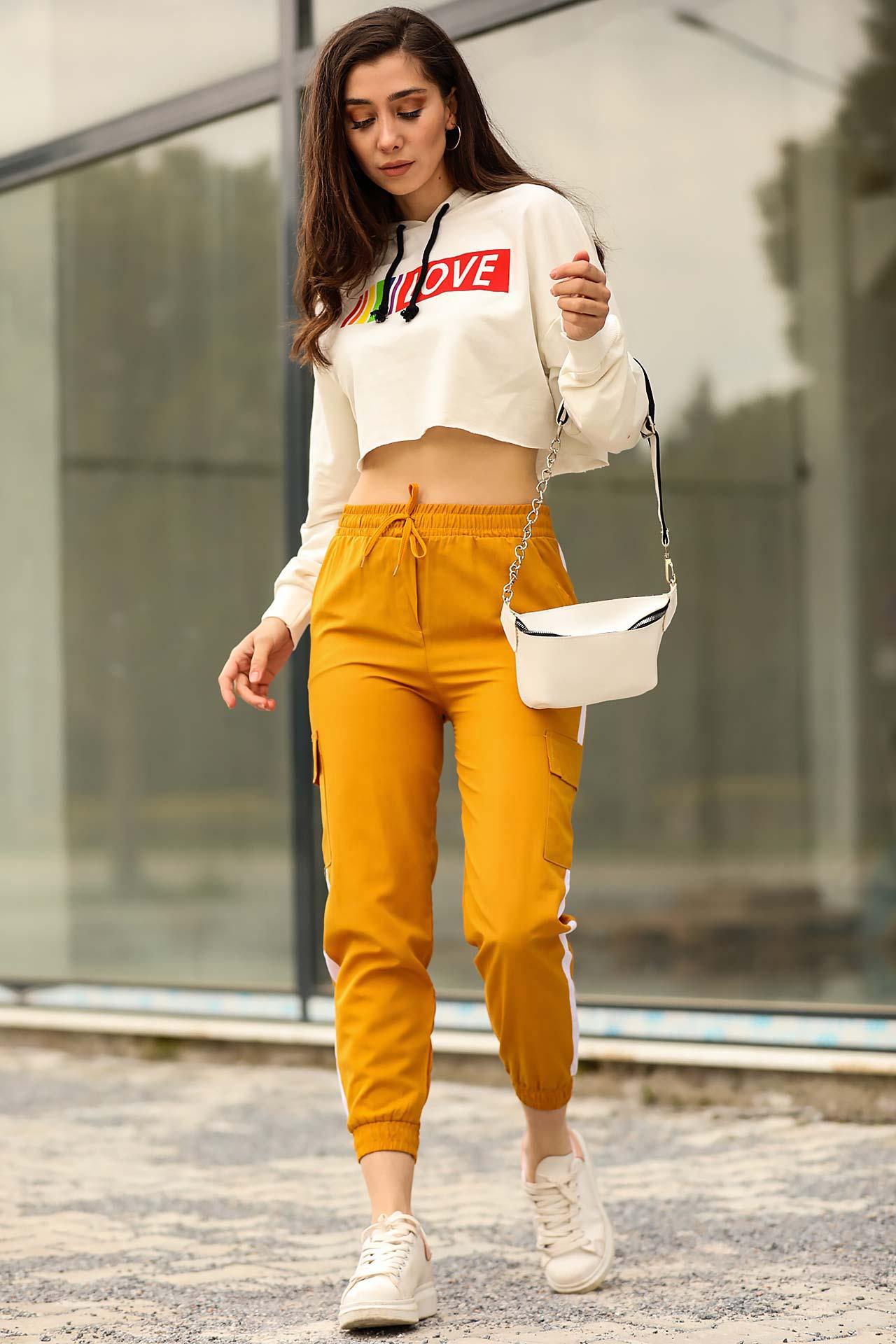 Women's Side Striped Mustard Pants