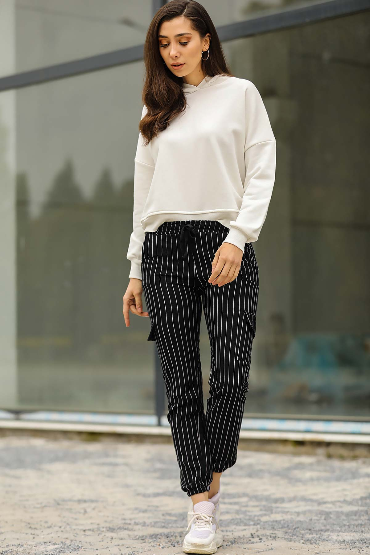Women's Striped Black Cargo Pants