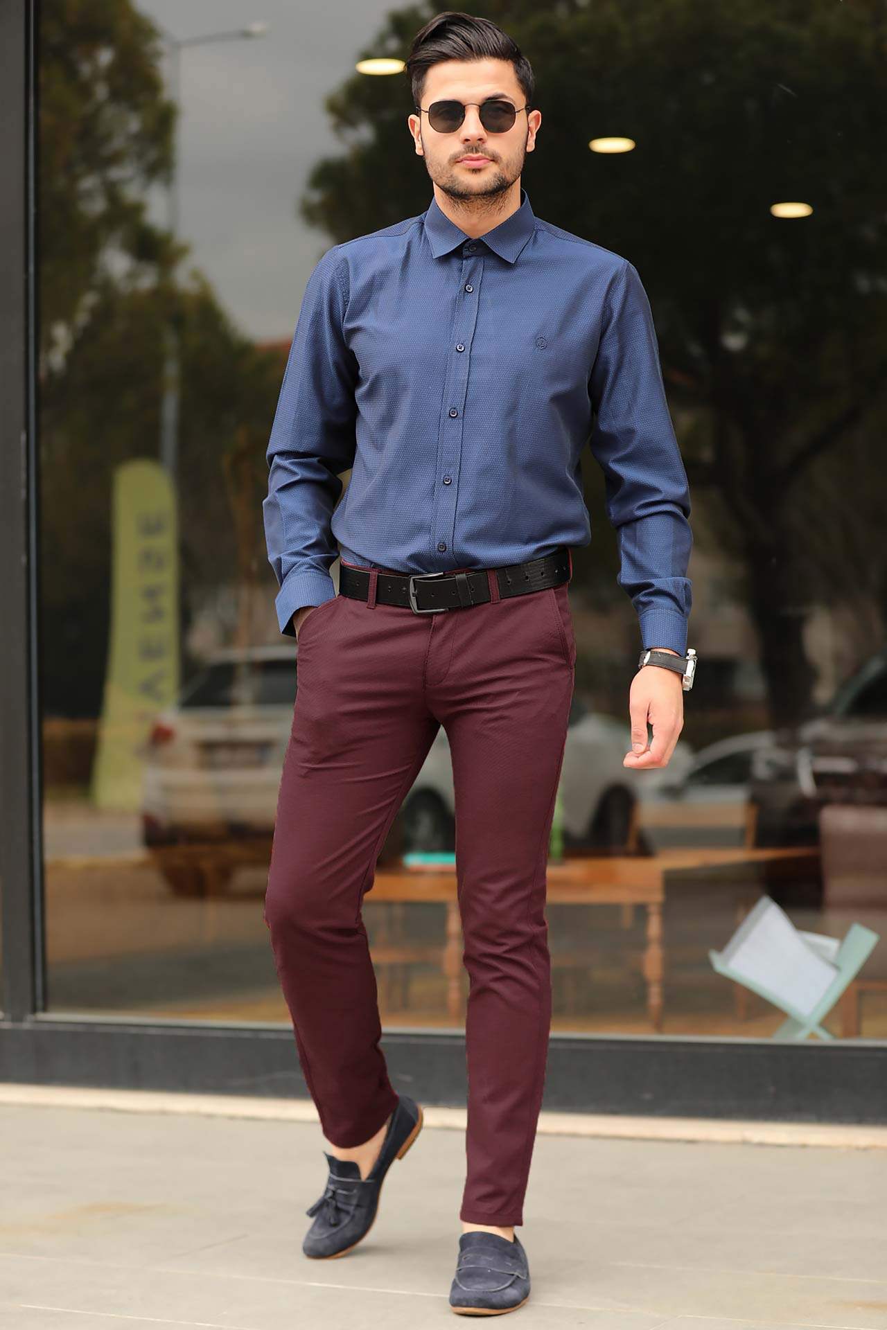 Men's Pocketed Claret Red Pants