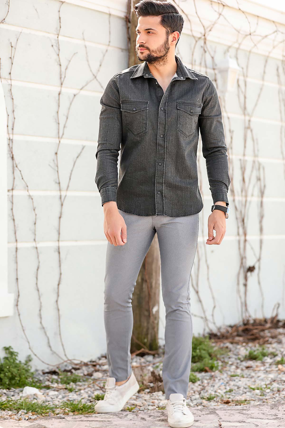 Men's Patterned Grey Pants