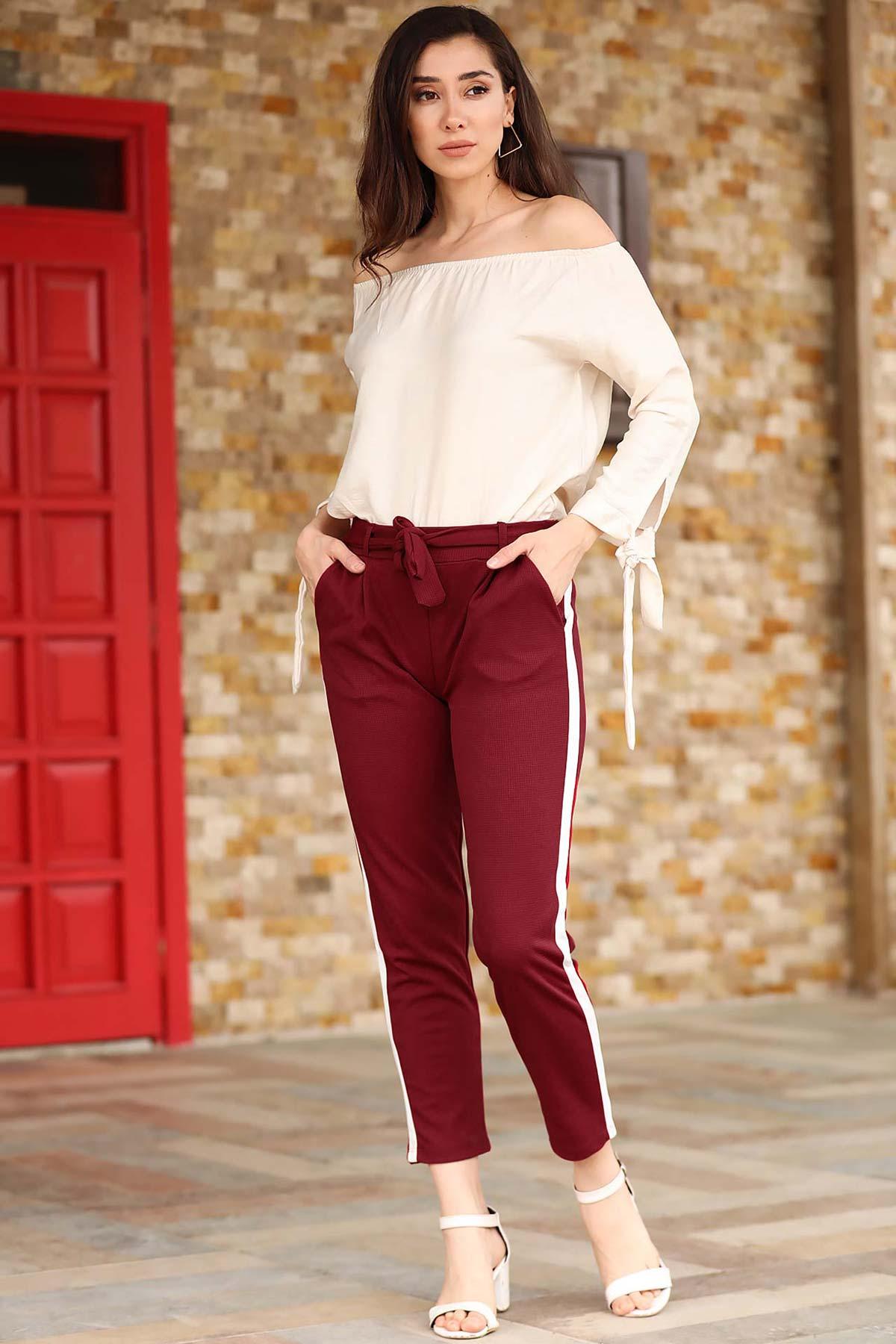 Women's Side Striped Claret Red Pants