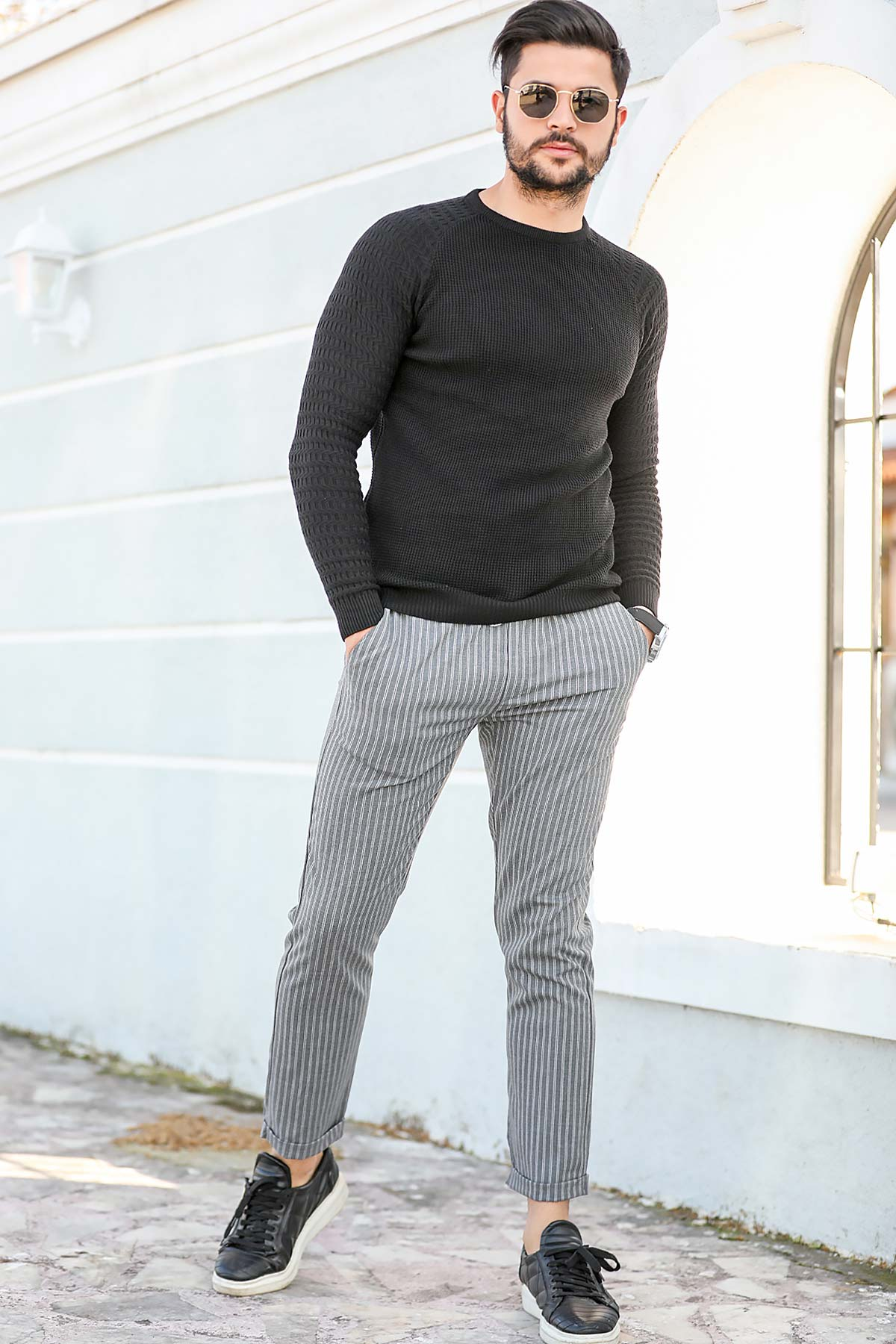Men's Striped Elastic Waist Grey Pants
