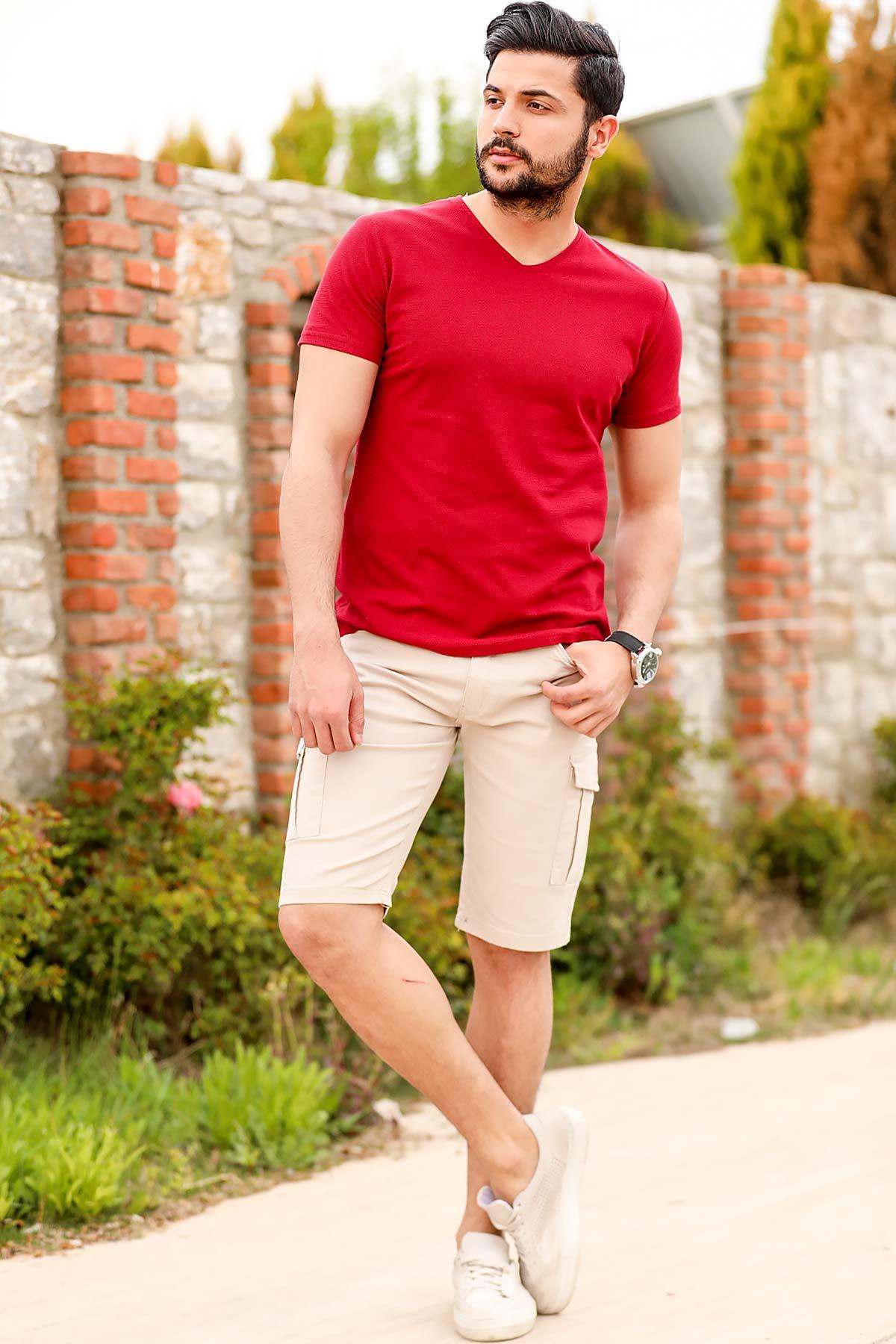Men's Beige Cargo Shorts