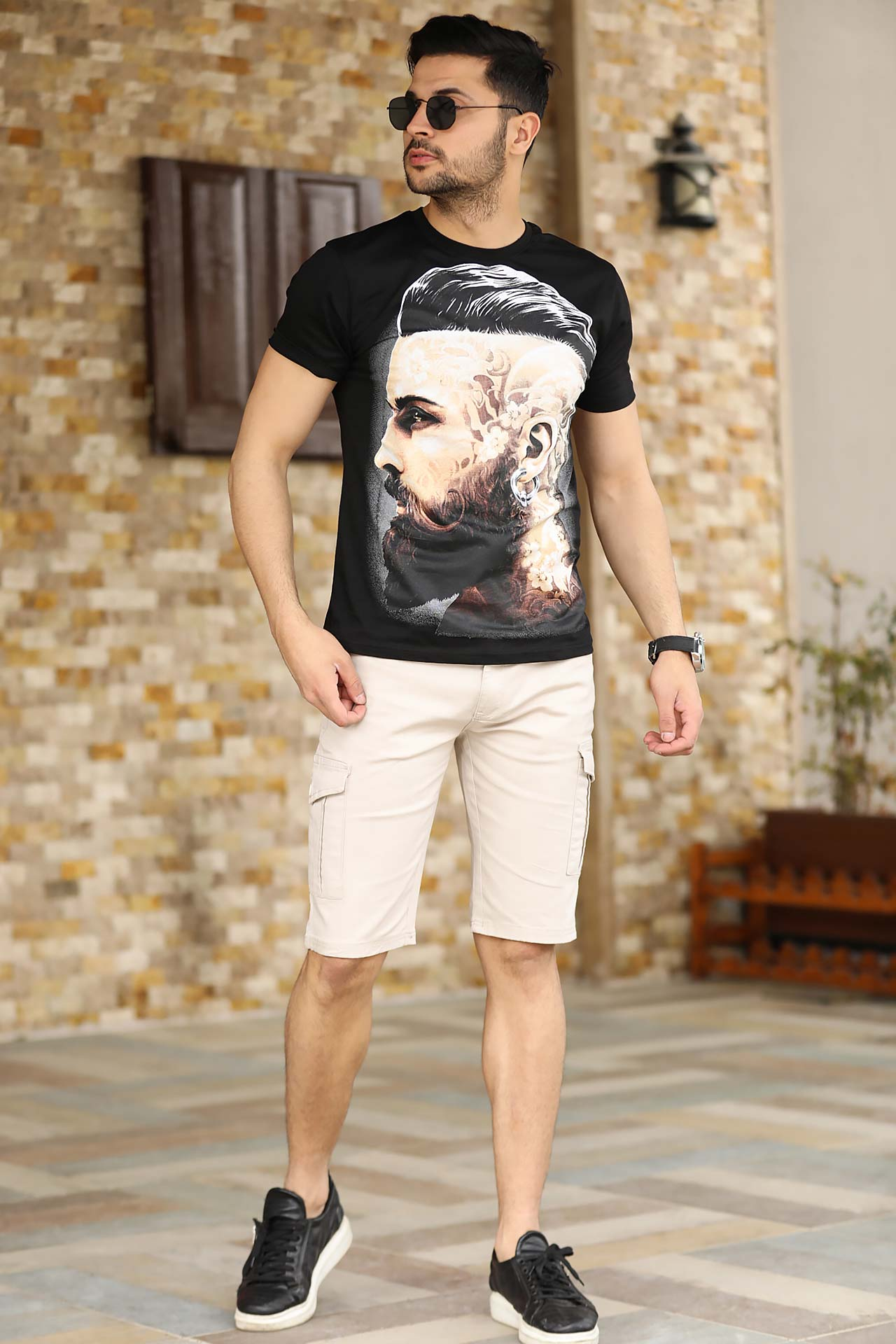 Men's Cream Cargo Shorts
