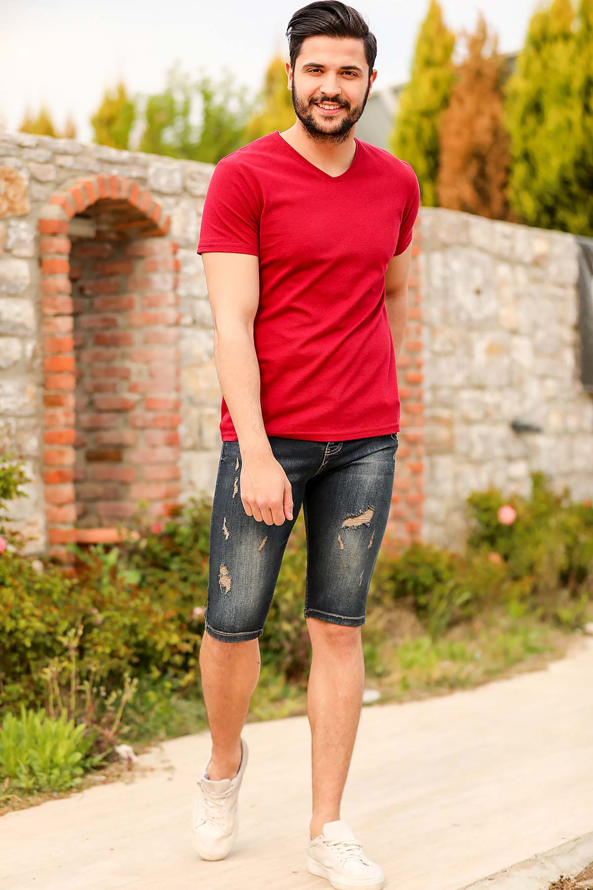 Men's Ripped Dark Navy Blue Shorts