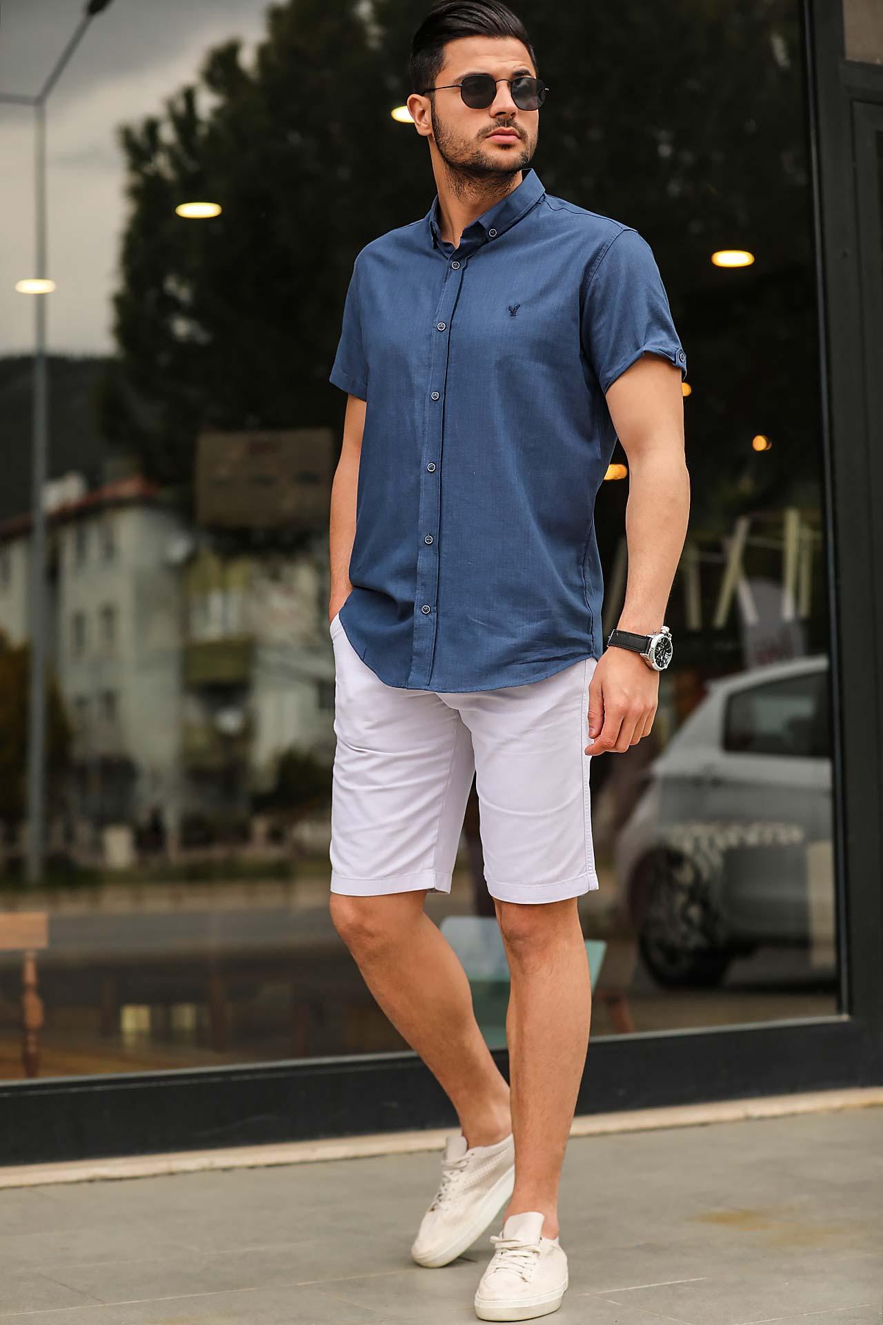 Men's Pocket Light Grey Capri Shorts