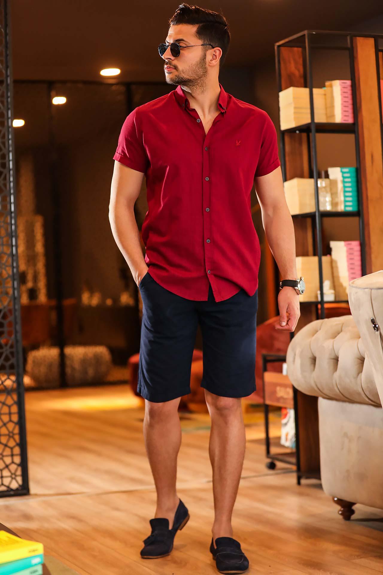 Men's Pocket Navy Blue Capri Shorts