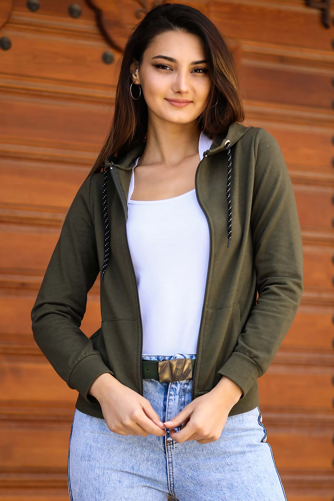 Women's Hooded Khaki Crop Sweatshirt
