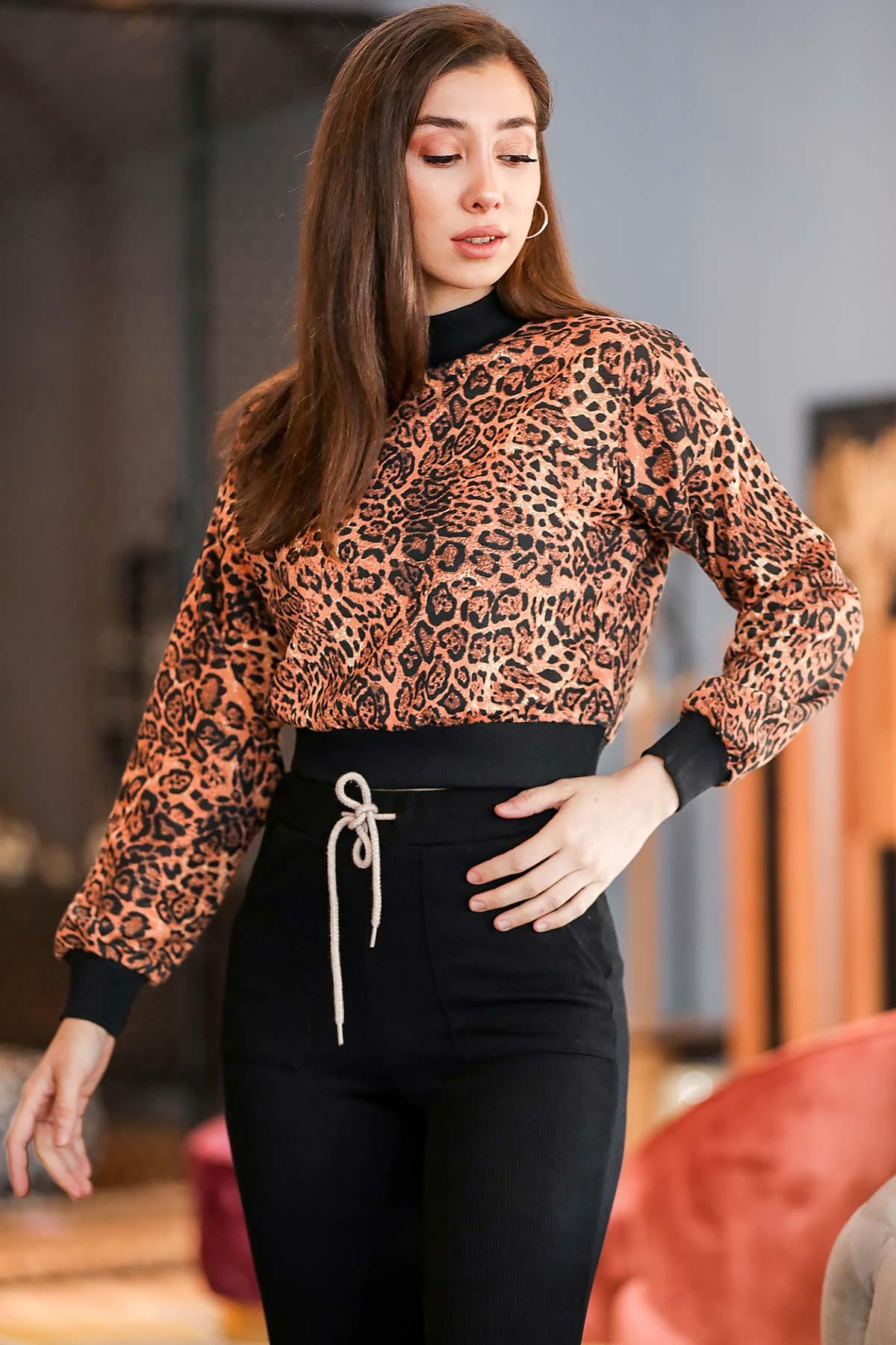 Women's Leopard Pattern Brown Sweatshirt