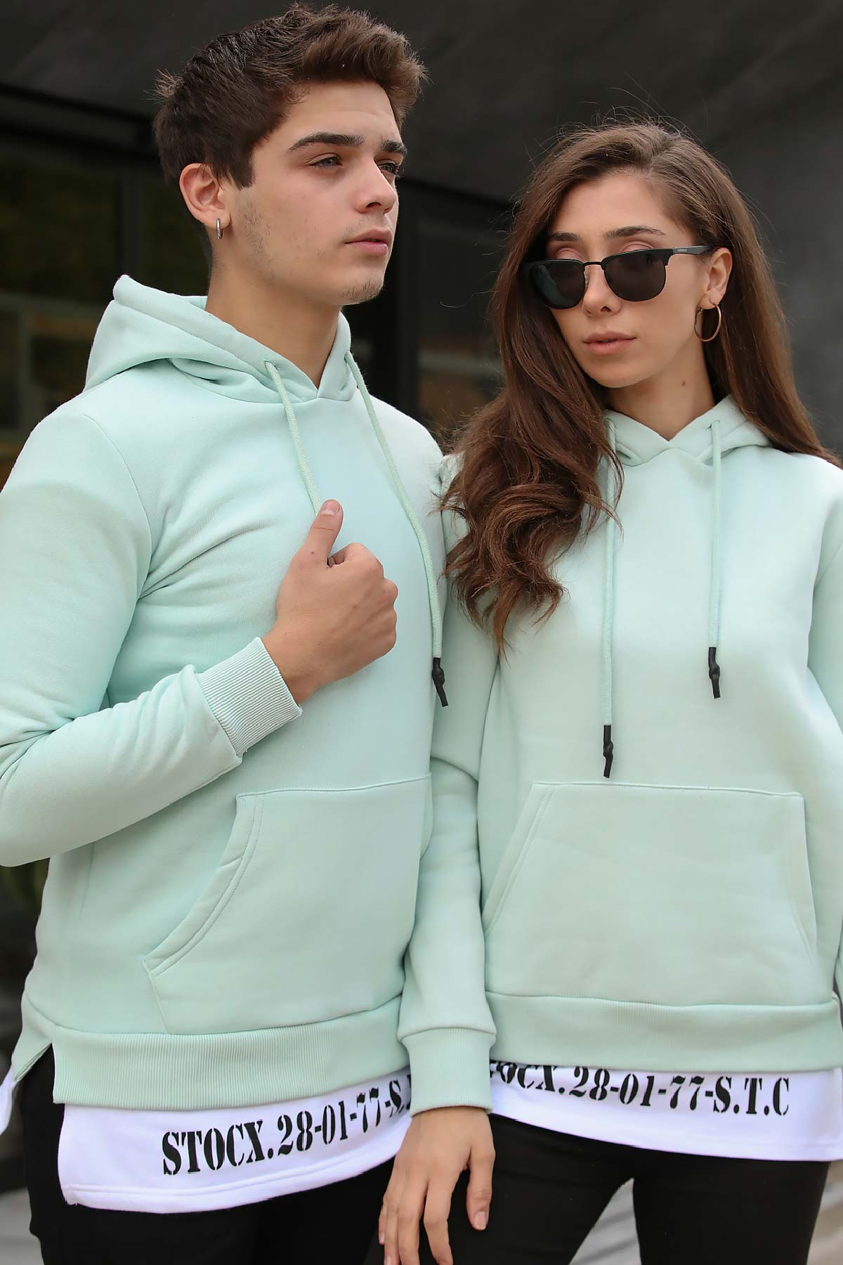 Women's Hooded Kangaroo Pocket Mint Green Sweatshirt