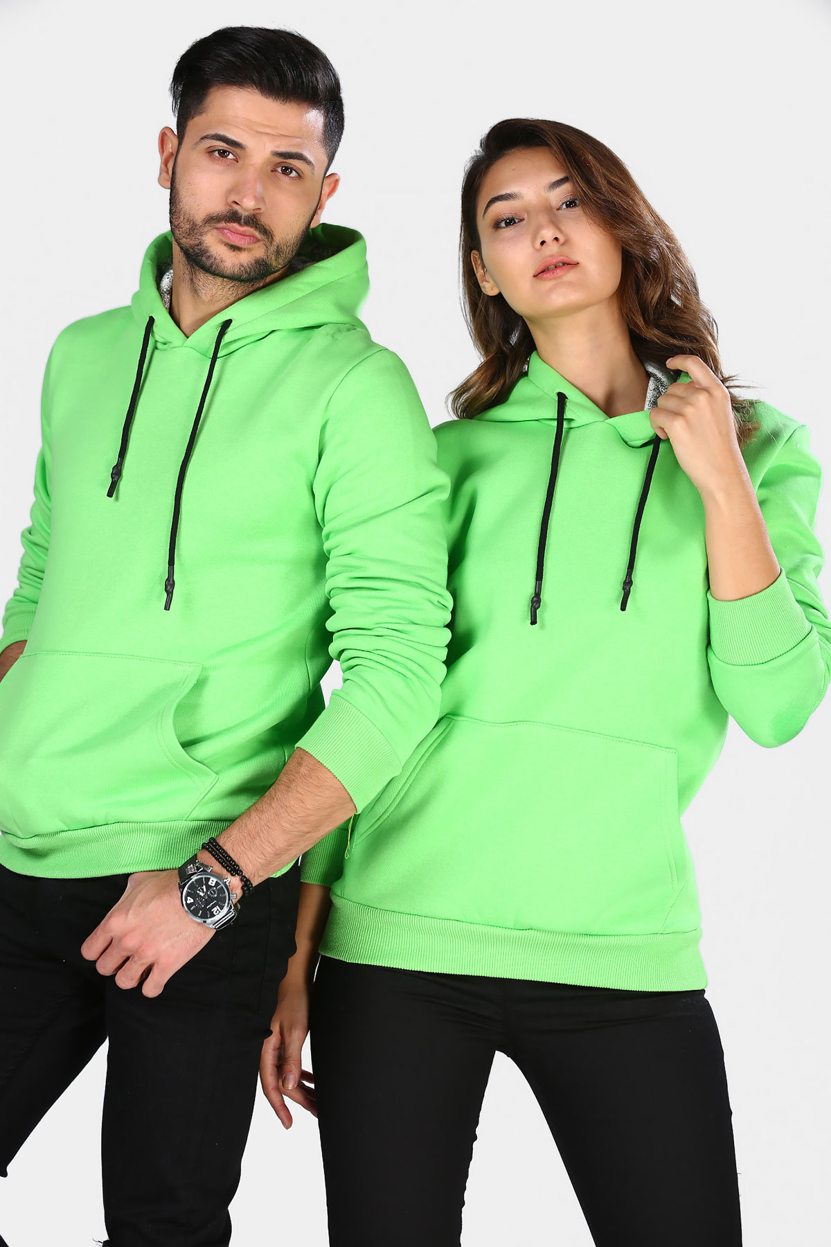 Unisex Hooded Kangaroo Pocket Light Green Sweatshirt