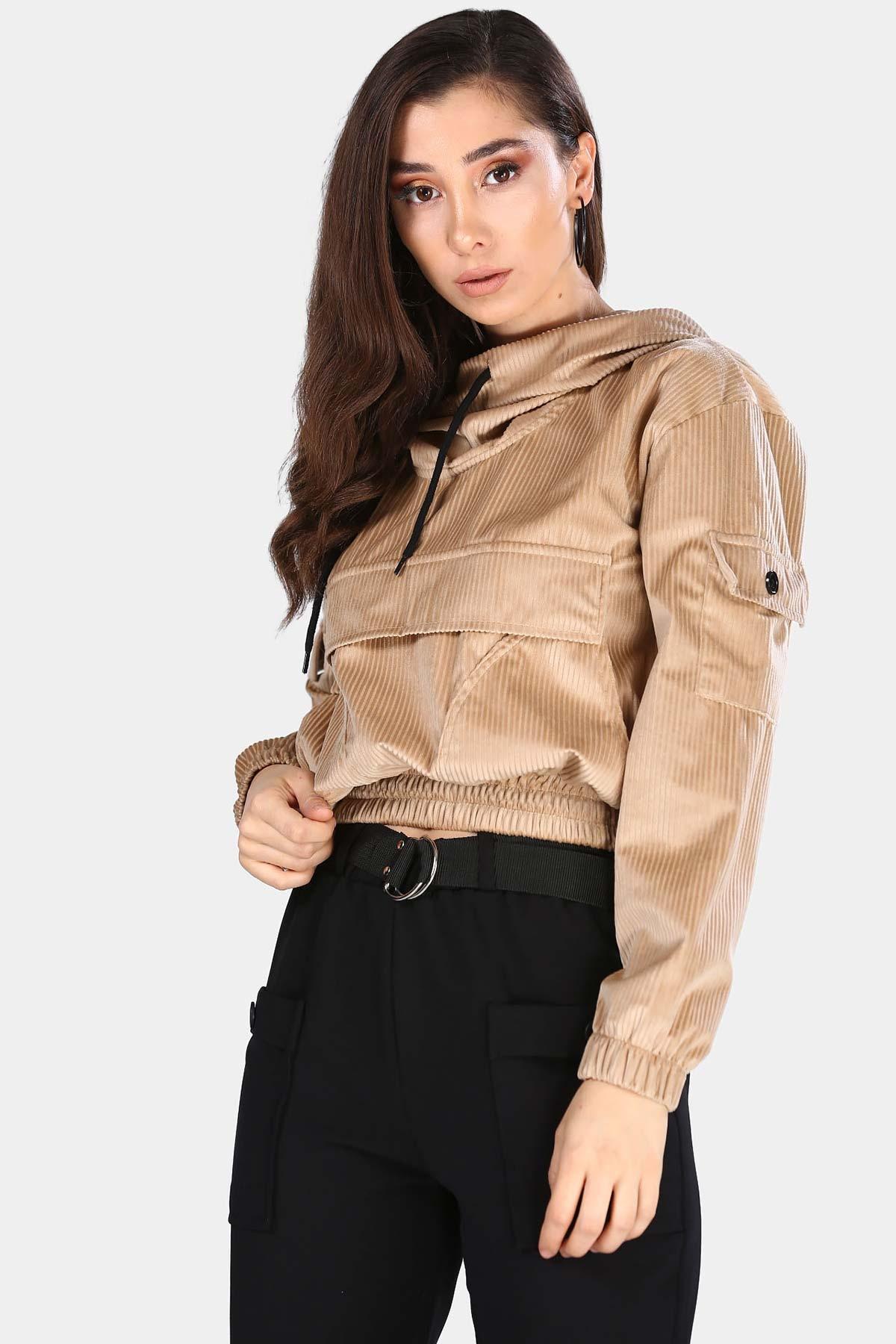Women's Hooded Pocket Beige Velvet Sweatshirt