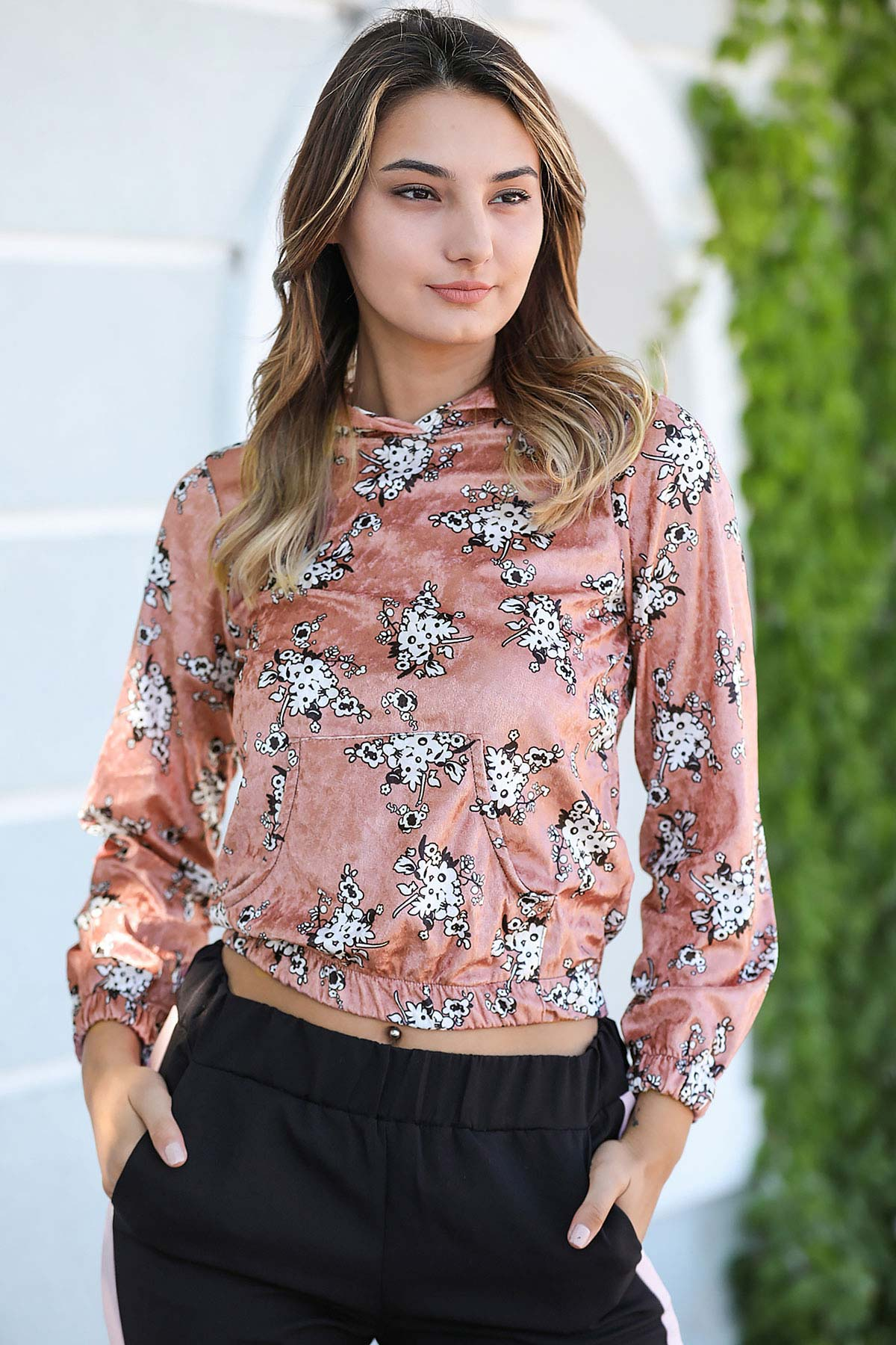 Women's Hooded Patterned Dusty Rose Velvet Sweatshirt