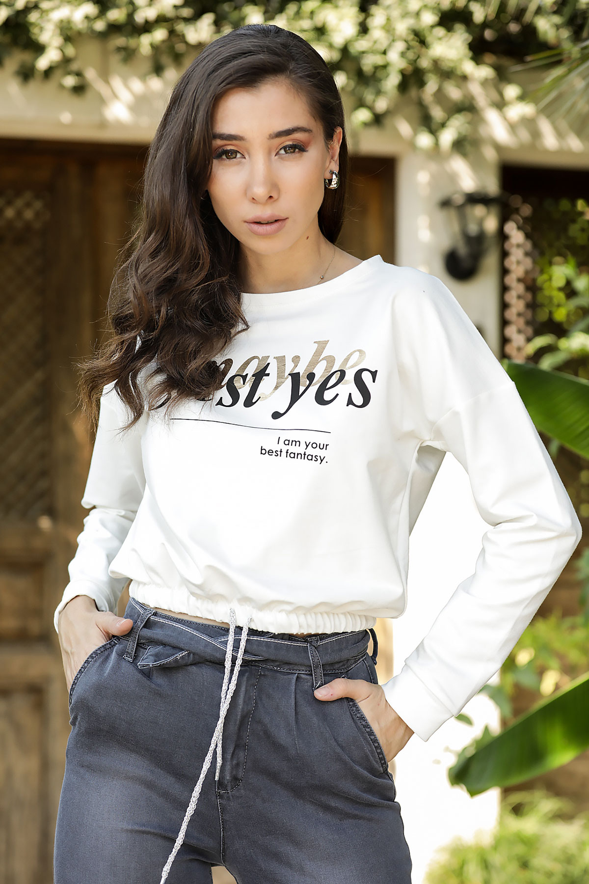 Women's Printed Ecru Sweatshirt