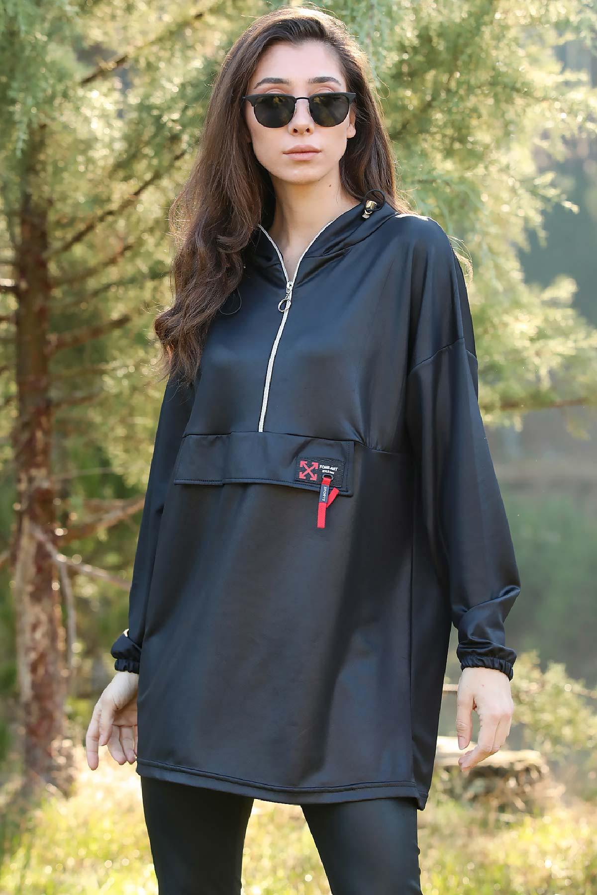Women's Hooded Shiny Black Sweatshirt